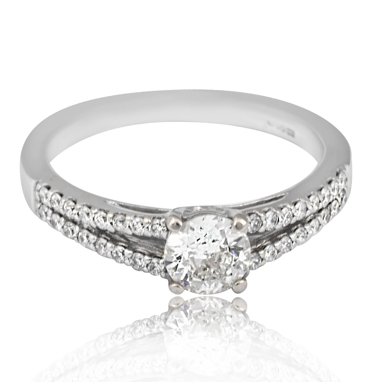 0.4 Carat Old European Cut Diamond With Split Shank | Engagement With Regard To Split Shank Wedding Rings (Gallery 15 of 15)
