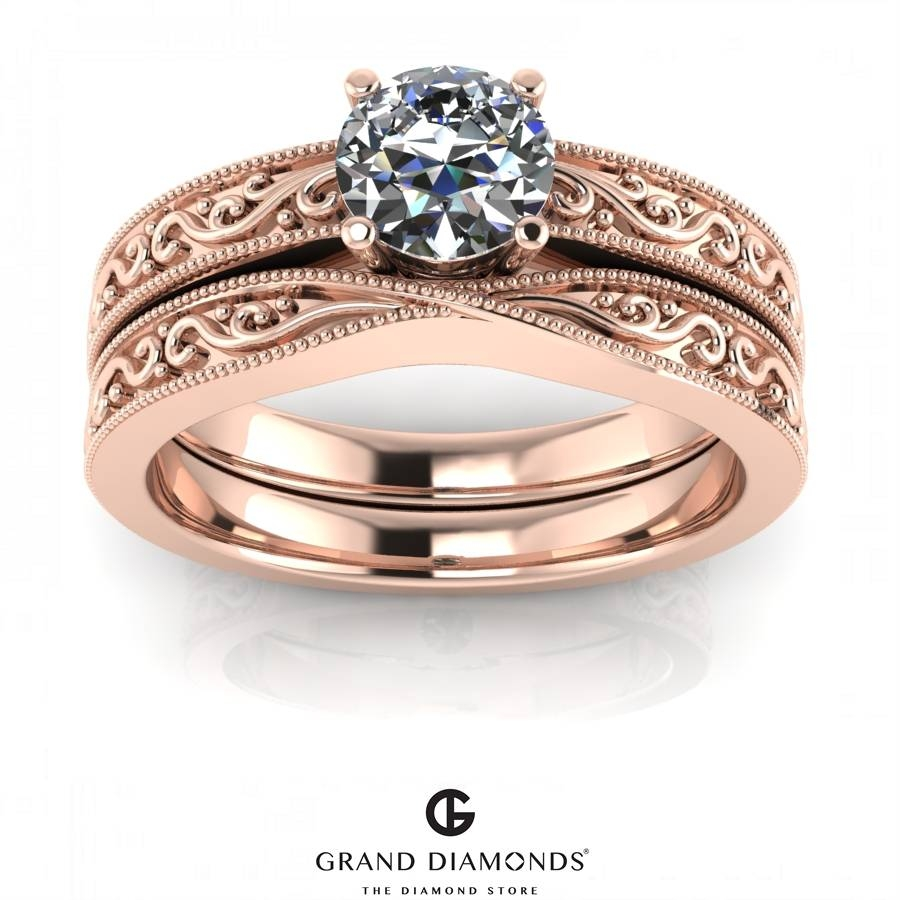 0.40Cts Rose Gold Filigree Diamond Rings – Grand Diamonds, Cape Town With Diamond Engagement And Wedding Rings Sets (Gallery 14 of 15)