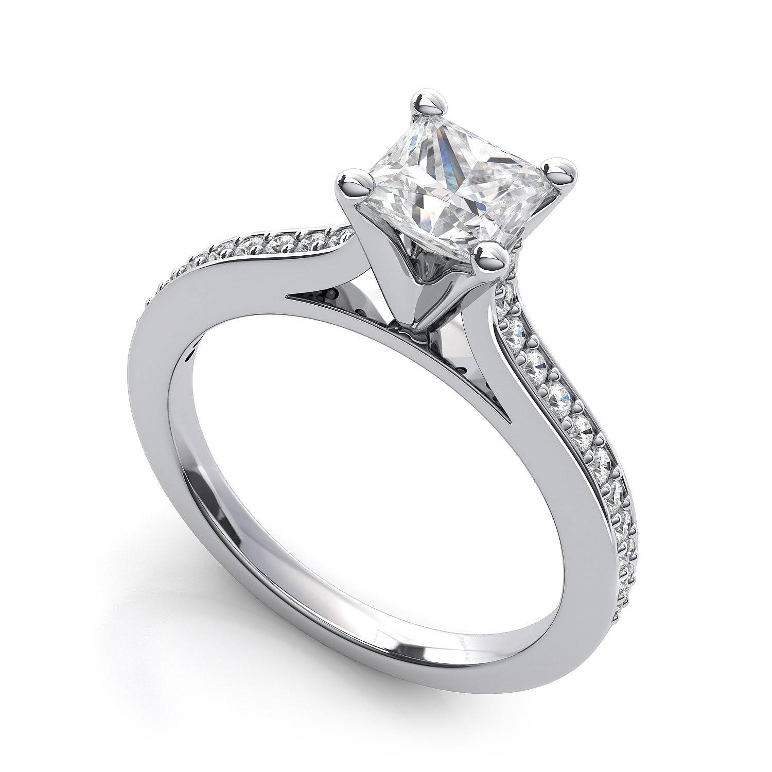 0.5 Carat .74ctw Princess Cut Diamond Engagement Ring In 18k White Inside Engagement Rings 18k White Gold (Gallery 12 of 15)