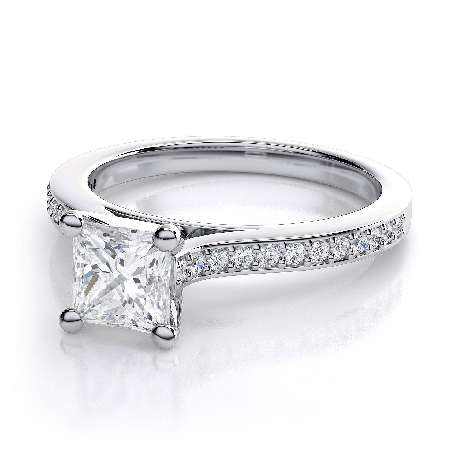 0.5 Carat .74ctw Princess Cut Diamond Engagement Ring In Palladium With Princess Cut Diamond Engagement Rings (Gallery 1 of 15)