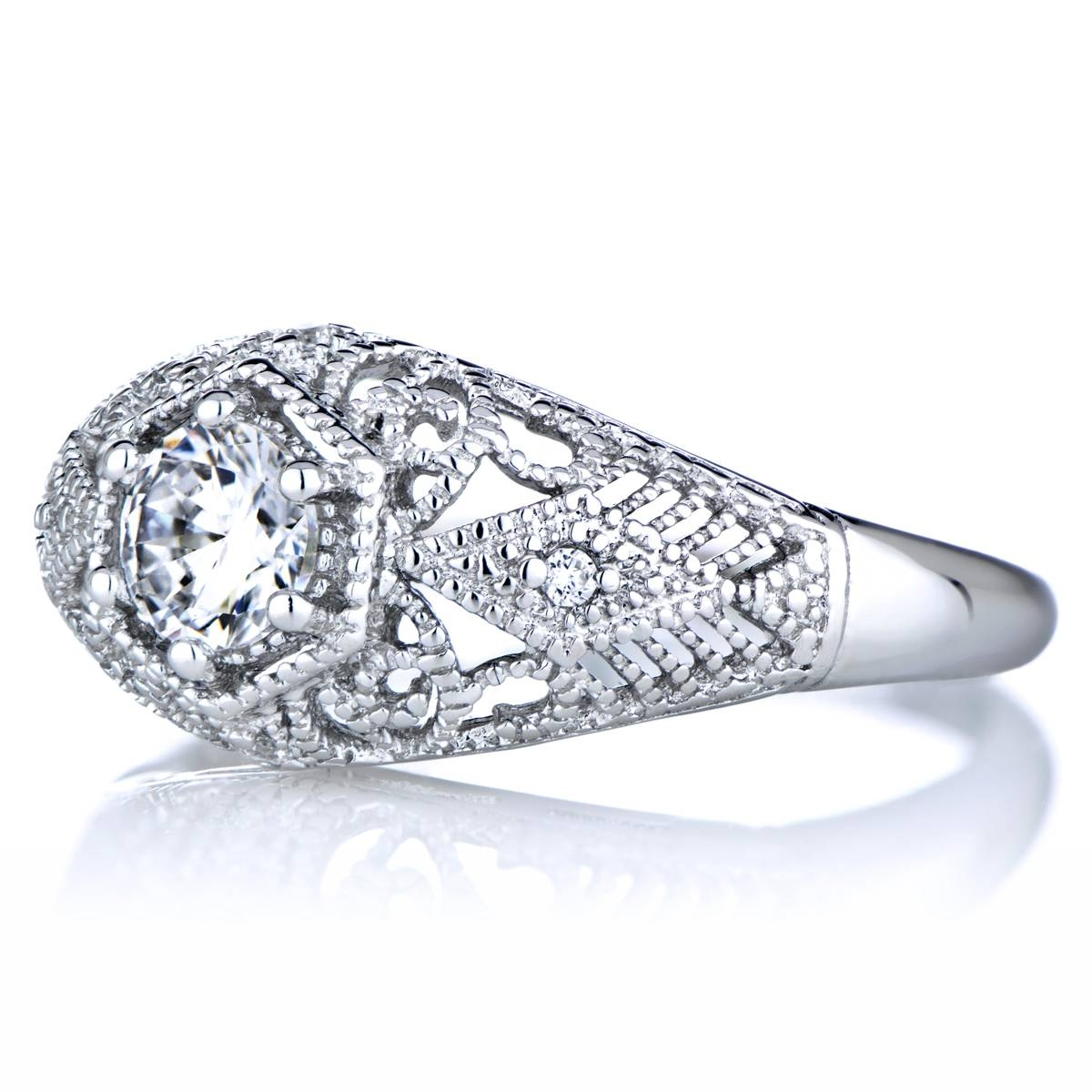 0.5 Ct Cz And Silvertone Vintage Style Wedding Ring In Old Fashioned Style Wedding Rings (Gallery 6 of 15)