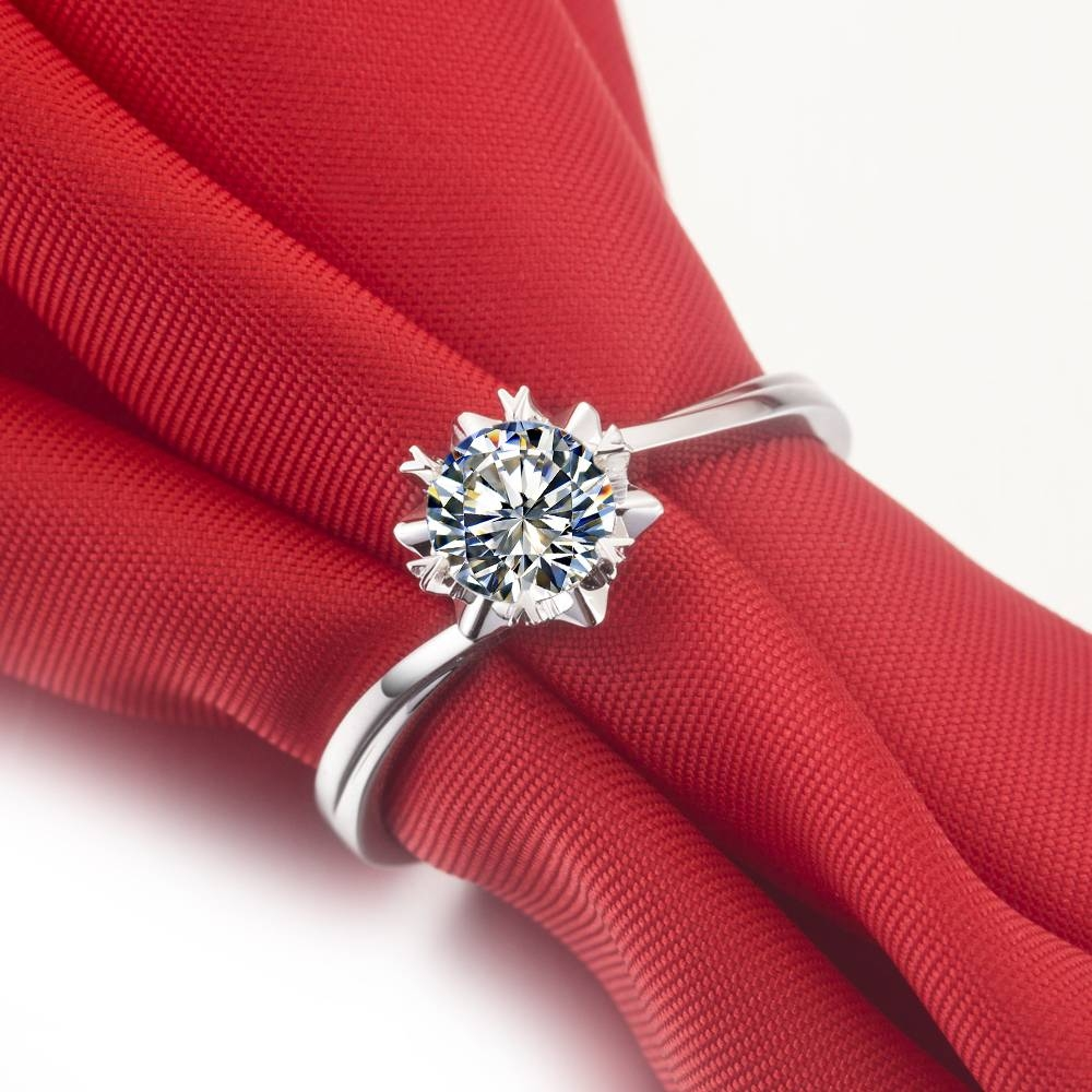 0.5 Ct Snow Flake Style Female Engagement Ring Solid 14k White With Female Engagement Rings (Gallery 15 of 15)