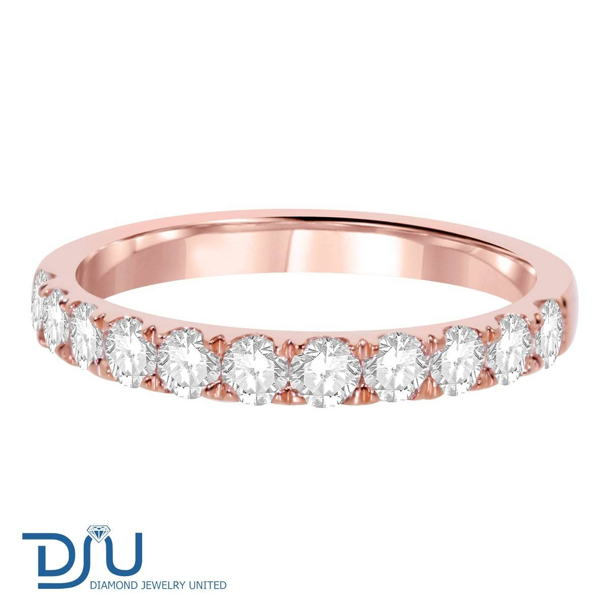 0.8 Carat Diamond Half Eternity Ring In 14K Solid Rose Gold Intended For Flat Engagement Rings (Gallery 13 of 15)