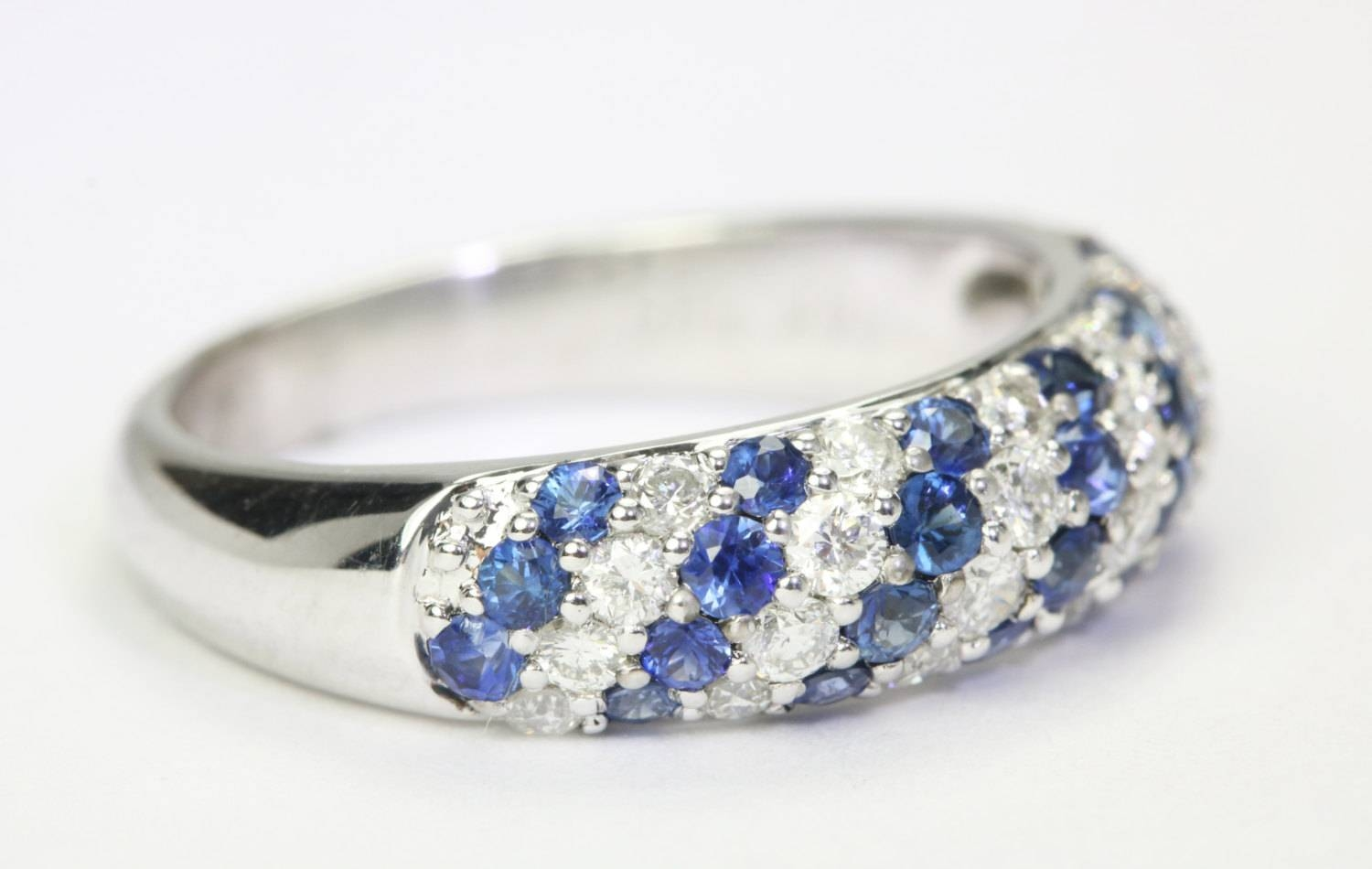 0.90tcw Sapphire & Diamond Wedding Band, Sapphire Diamond Band With Vintage Sapphire Wedding Bands (Gallery 10 of 15)
