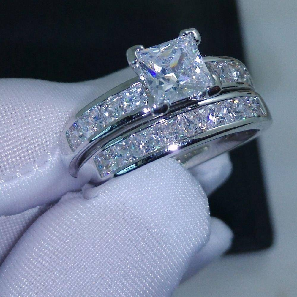005 Victoria Wieck Valueable Princess Cut Topaz Simulated Diamond With Princess Cut Diamond Wedding Rings Sets (View 1 of 15)