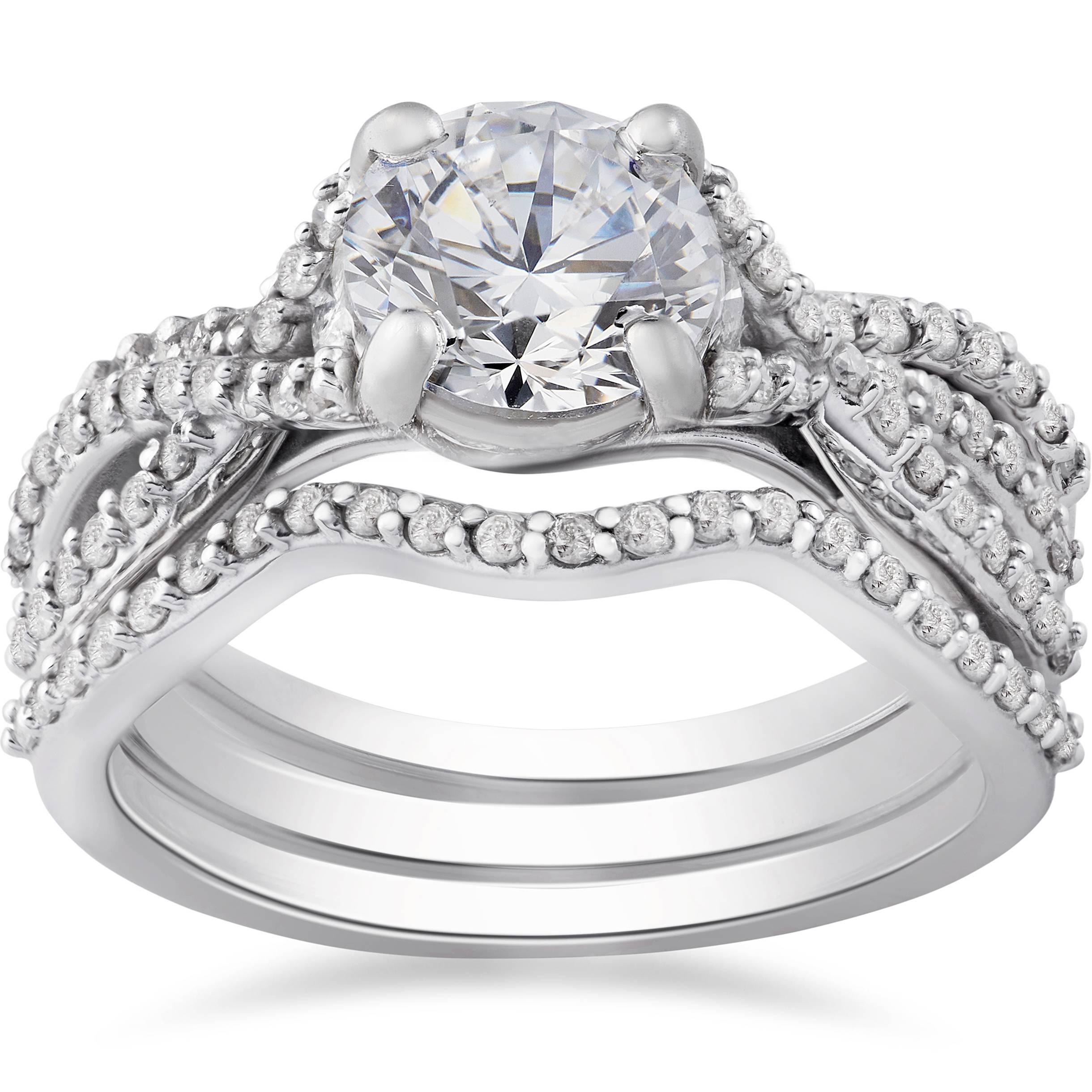 1 3/4Ct Twist Diamond Engagement Ring & Matching Wedding Band Set Regarding Engagement Band Rings (View 1 of 15)