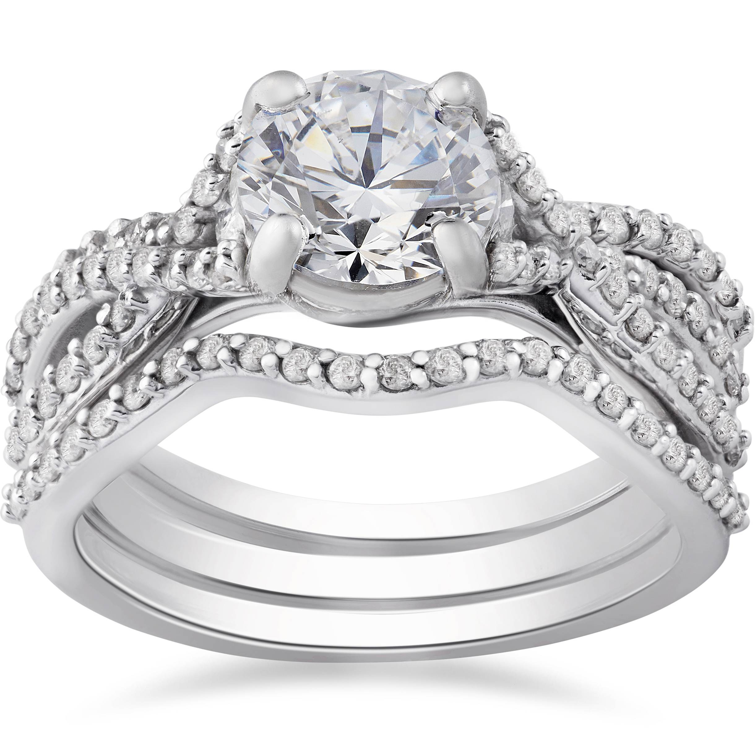1 3/4Ct Twist Diamond Engagement Ring & Matching Wedding Band Set Regarding Matching Engagement And Wedding Bands (View 2 of 15)