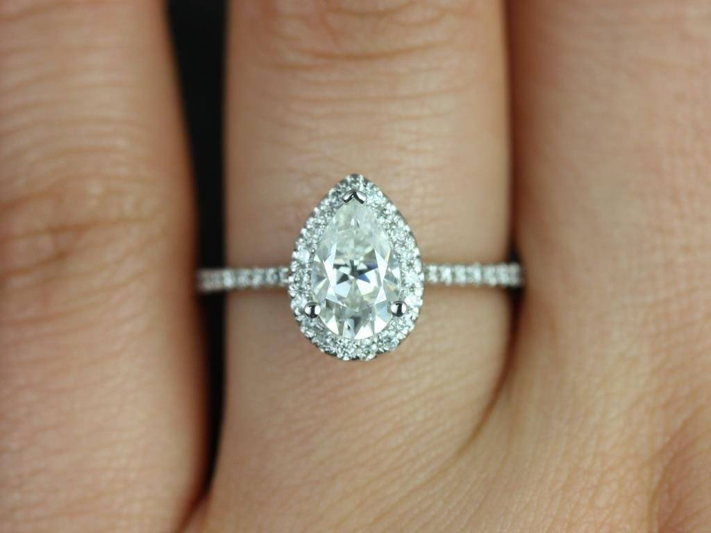 1.36Ct Pear Shape Diamond Engagement Ring From Jewelforme Blue For  (View 3 of 15)