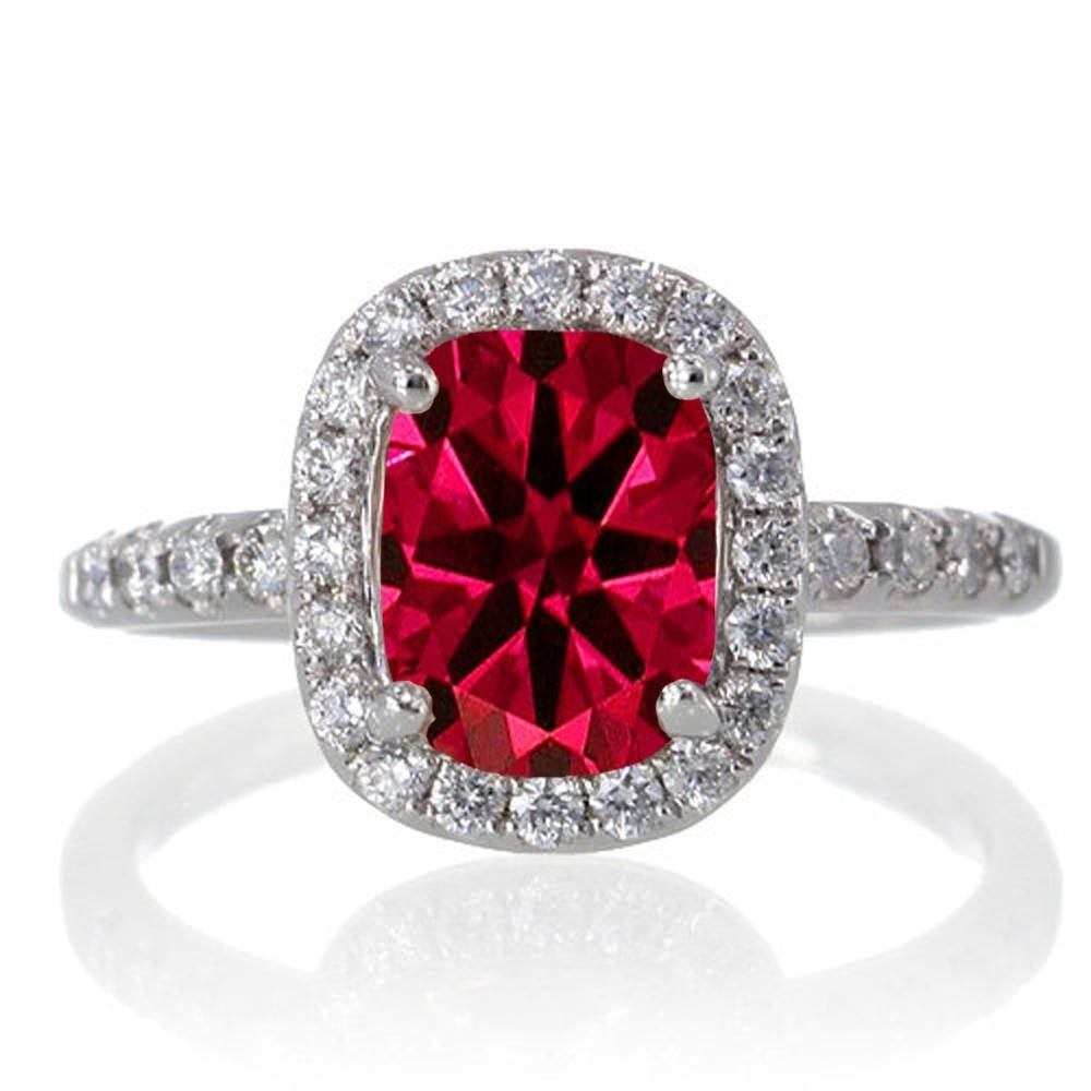 1.5 Carat Cushion Cut Ruby Antique Diamond Engagement Ring On 10K For Engagement Rings Ruby And Diamond (Gallery 11 of 15)