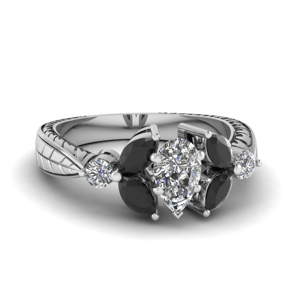1.5 Carat Pear Shaped Diamond Petal Engagement Ring With Black With  (View 5 of 15)