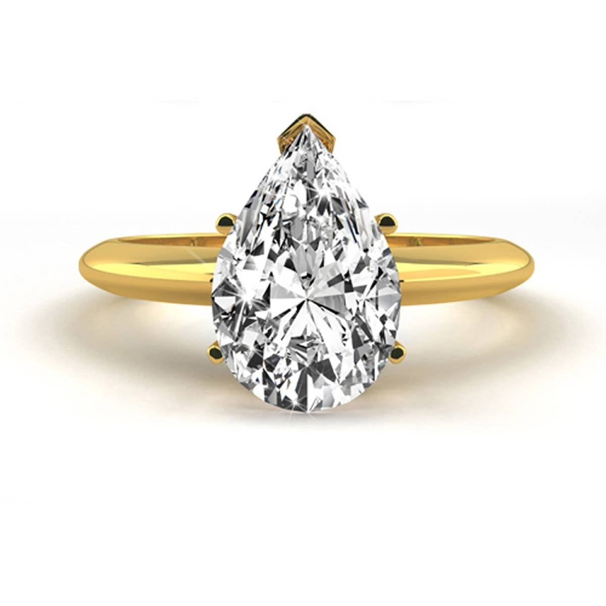 1.5 Carat Pear Shaped E/vs1 Diamond Engagement Ring 14K Yellow Throughout  (View 6 of 15)