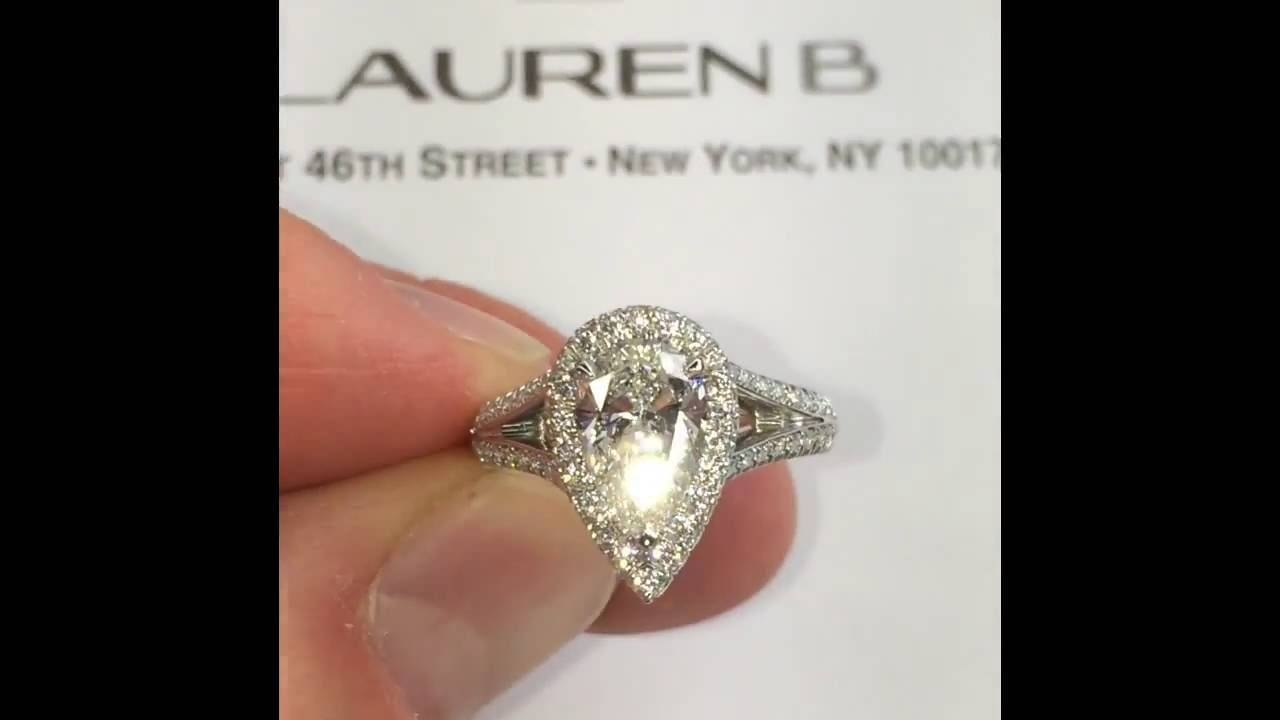 1.50 Ct Pear Shape Diamond Halo Engagement Ring – Youtube In  (View 7 of 15)