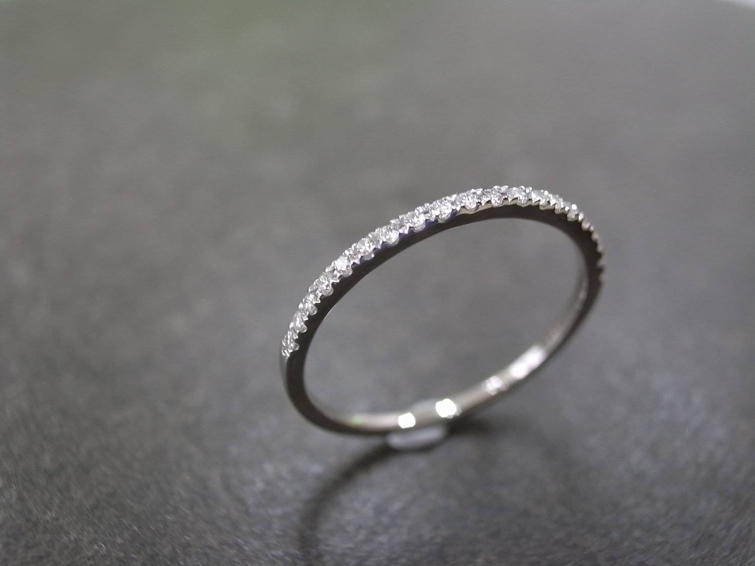 1.5Mm Diamond Wedding Band In 14K White Gold Thin Ring With  (View 1 of 15)