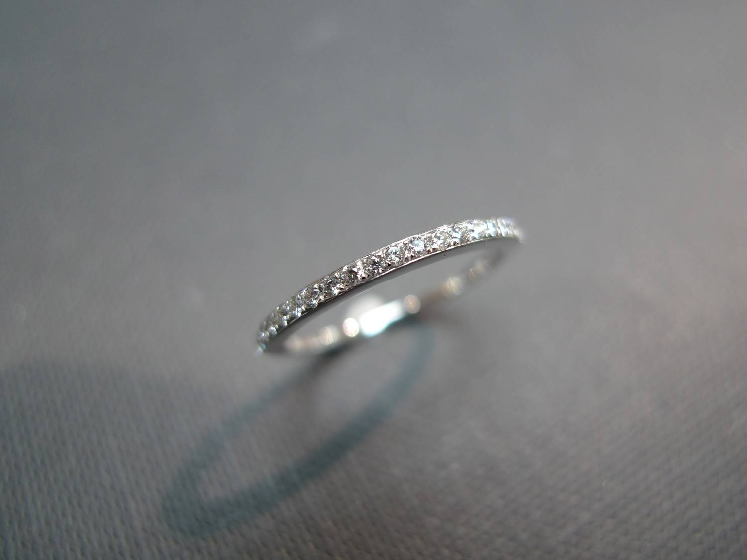 1.5mm Pave Thin Ring Wedding Engagement Diamond Rings Band With Regard To (View 10 of 15)