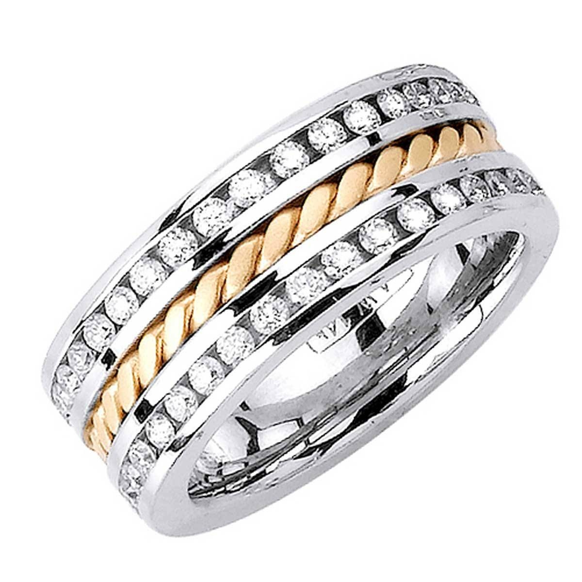 1.75Ct Tcw 14K Two Tone Gold Rope Braid Band  (View 2 of 15)