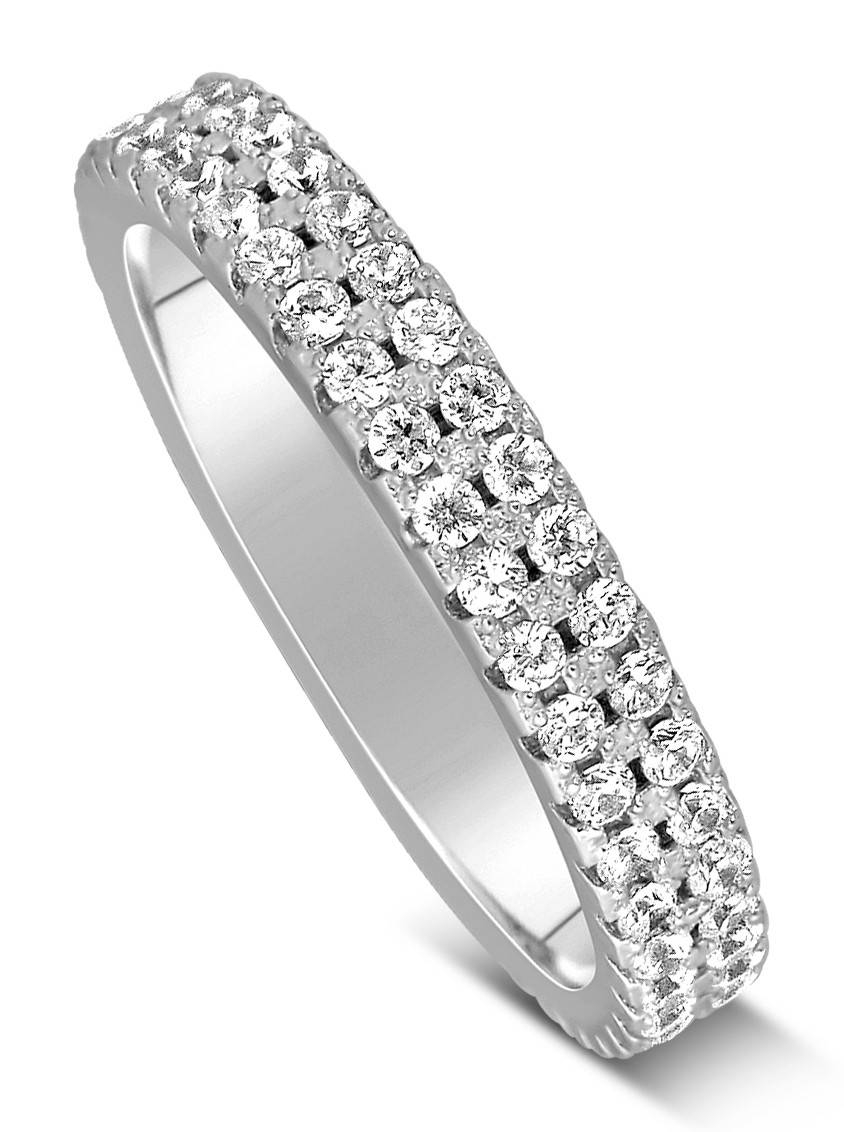 1 Carat 2 Row Diamond Wedding Ring Band In White Gold For Women For 2 Band Wedding Rings (View 1 of 15)