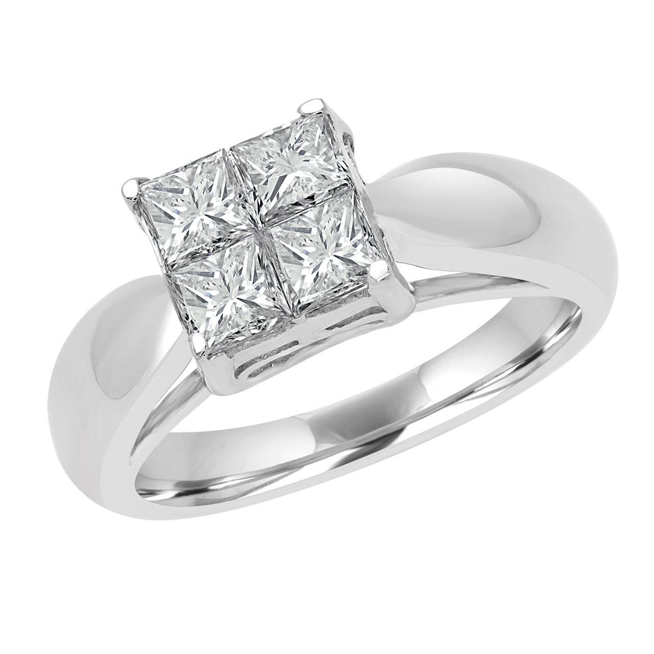 1 Carat (Ctw) Invisible Set Princess Cut Diamond Solitaire With Regard To Invisible Setting Engagement Rings (View 1 of 15)