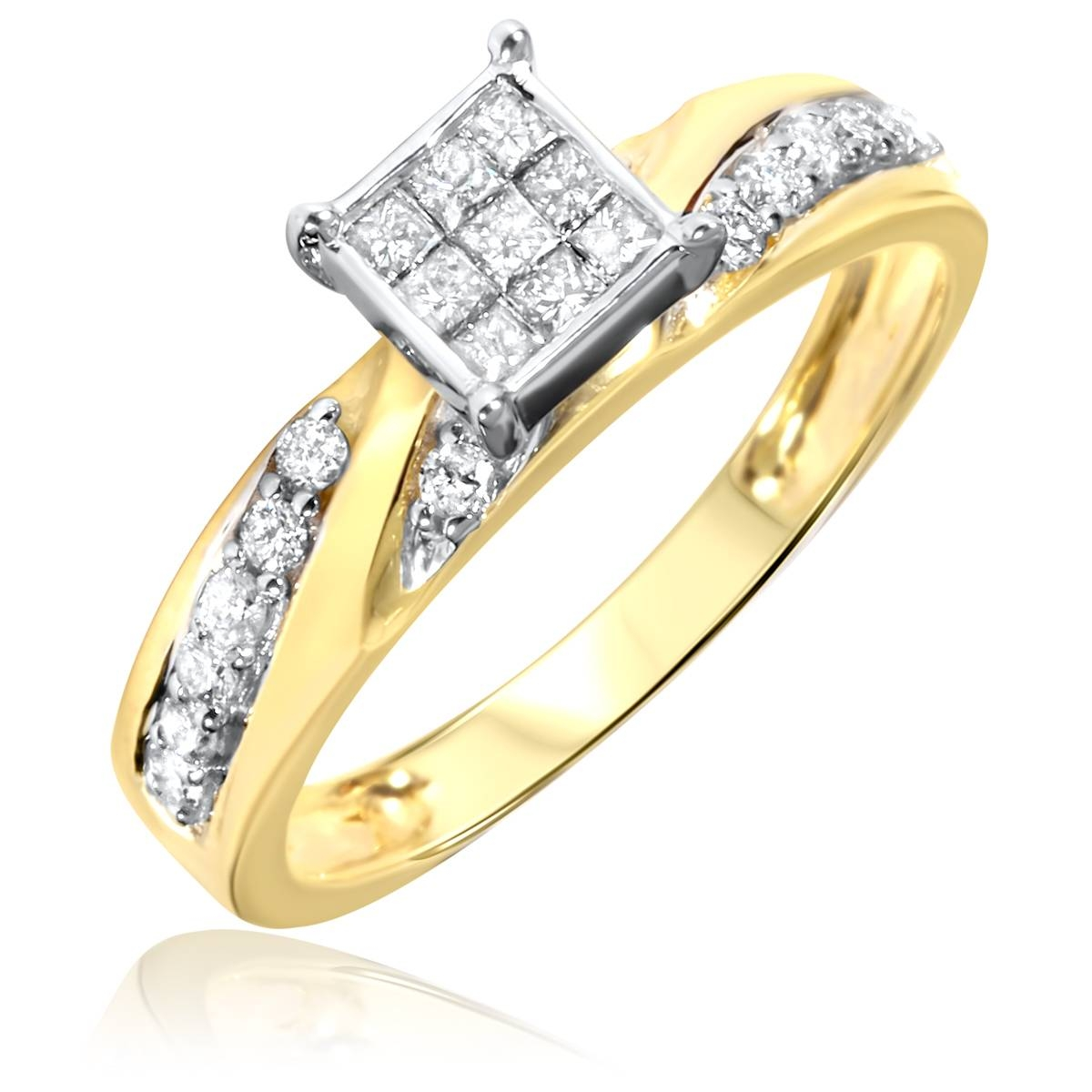 1 Carat Diamond Trio Wedding Ring Set 10K Yellow Gold For Engagement Rings And Wedding Ring Sets (Gallery 9 of 15)