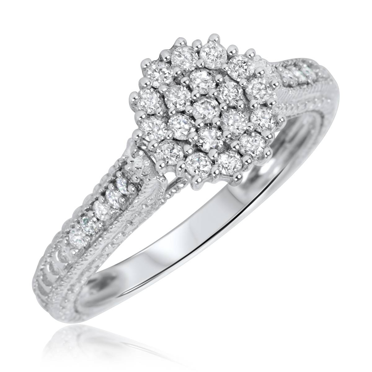 1 Carat Diamond Trio Wedding Ring Set 14K White Gold Pertaining To Size 4 White Gold Engagement Rings (Gallery 14 of 15)
