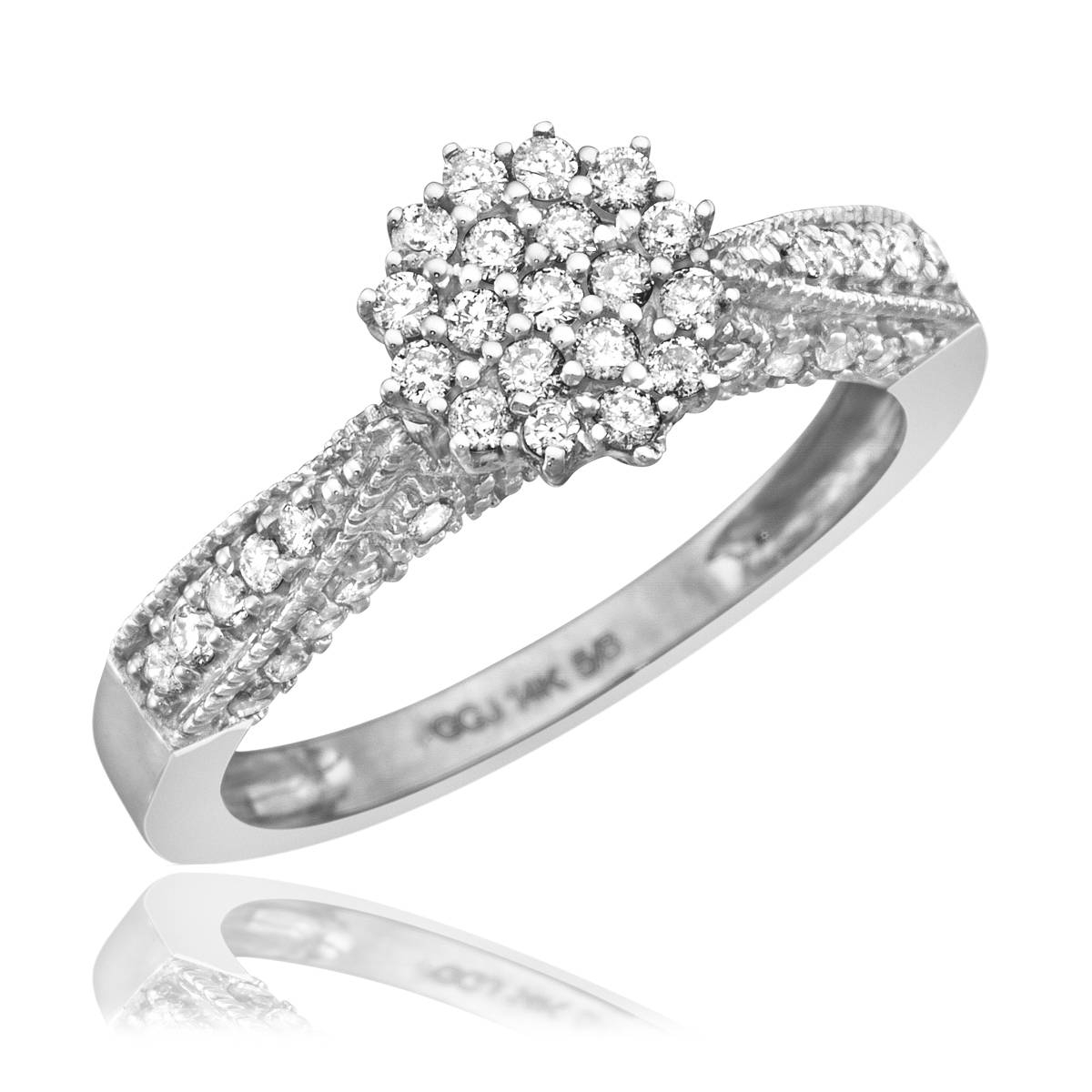 1 Carat Diamond Trio Wedding Ring Set 14K White Gold With Regard To 14K Wedding Rings (View 1 of 15)