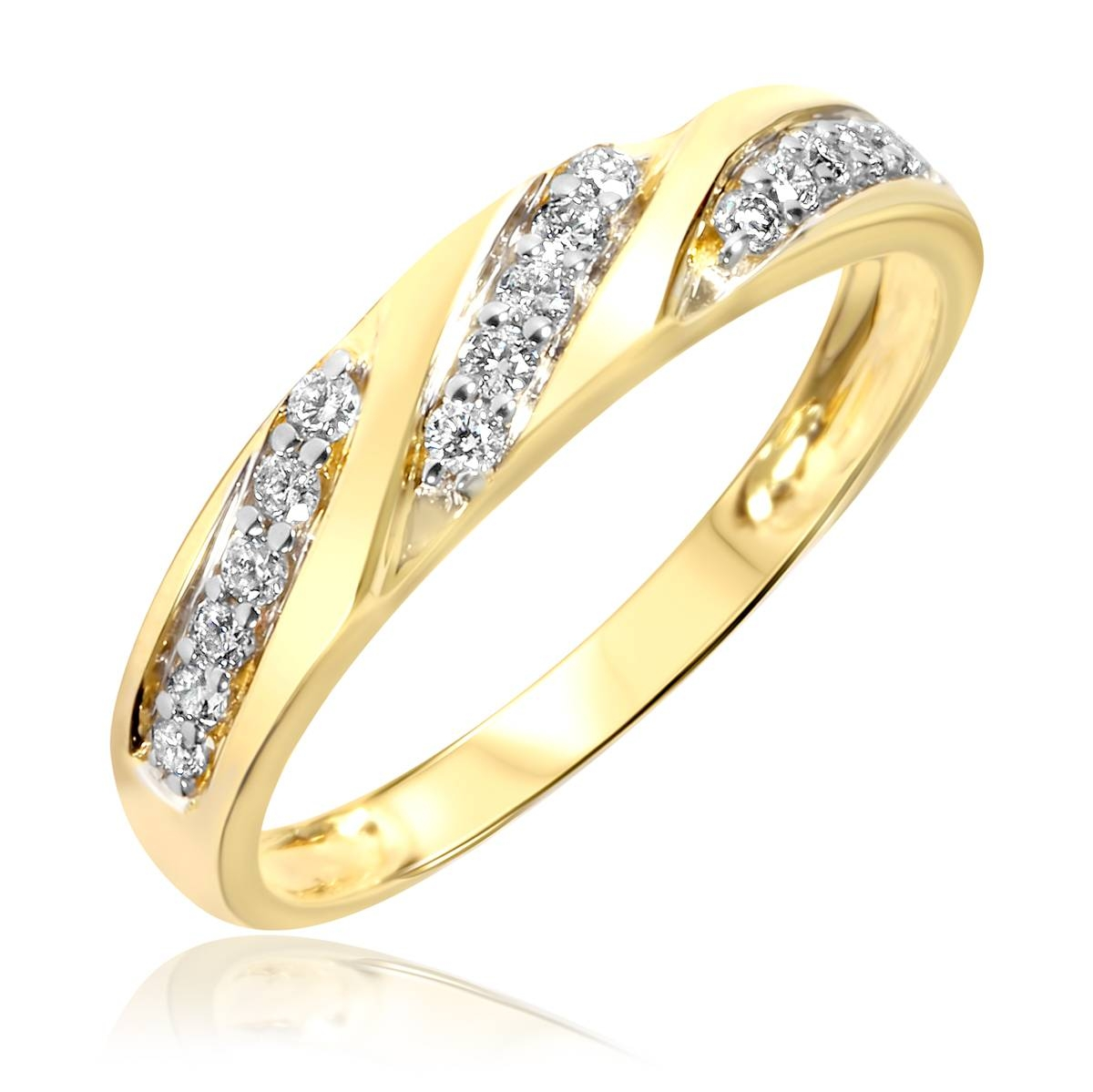 1 Carat Diamond Trio Wedding Ring Set 14K Yellow Gold For Women's Yellow Gold Wedding Bands (View 1 of 15)