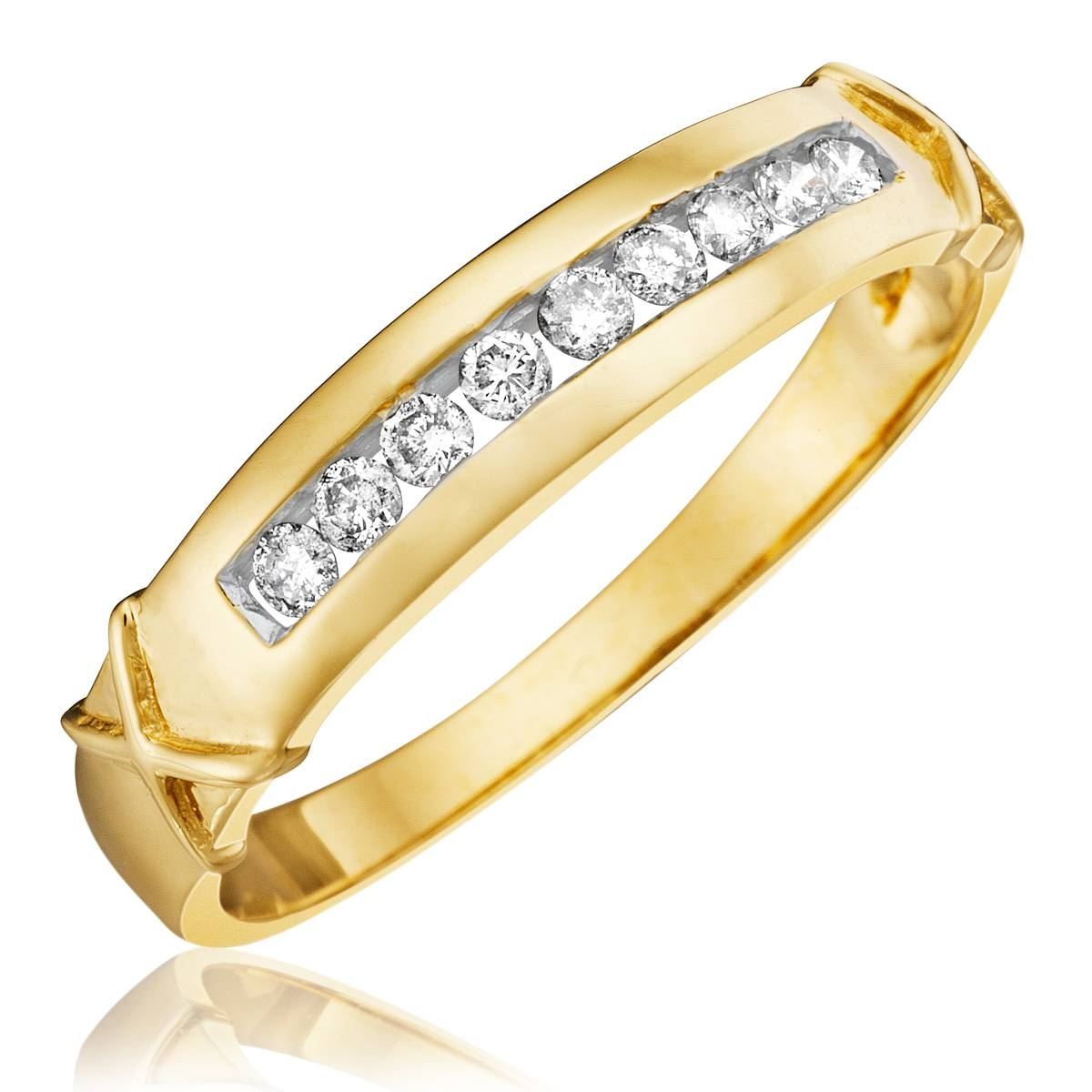 1 Carat Diamond Trio Wedding Ring Set 14K Yellow Gold Pertaining To Men's Wedding Bands Yellow Gold With Diamonds (View 1 of 15)