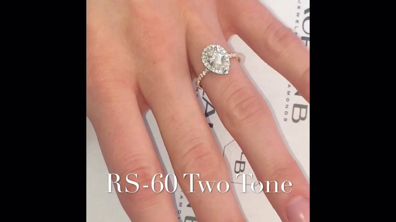 1 Carat Pear Shape Diamond 2 Tone Engagement Ring – Youtube Inside  (View 1 of 15)