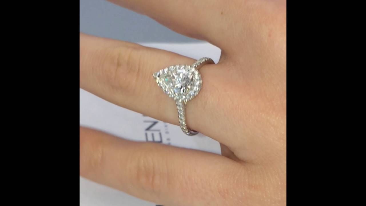 1 Carat Pear Shape Diamond Engagement Ring – Youtube Intended For  (View 2 of 15)