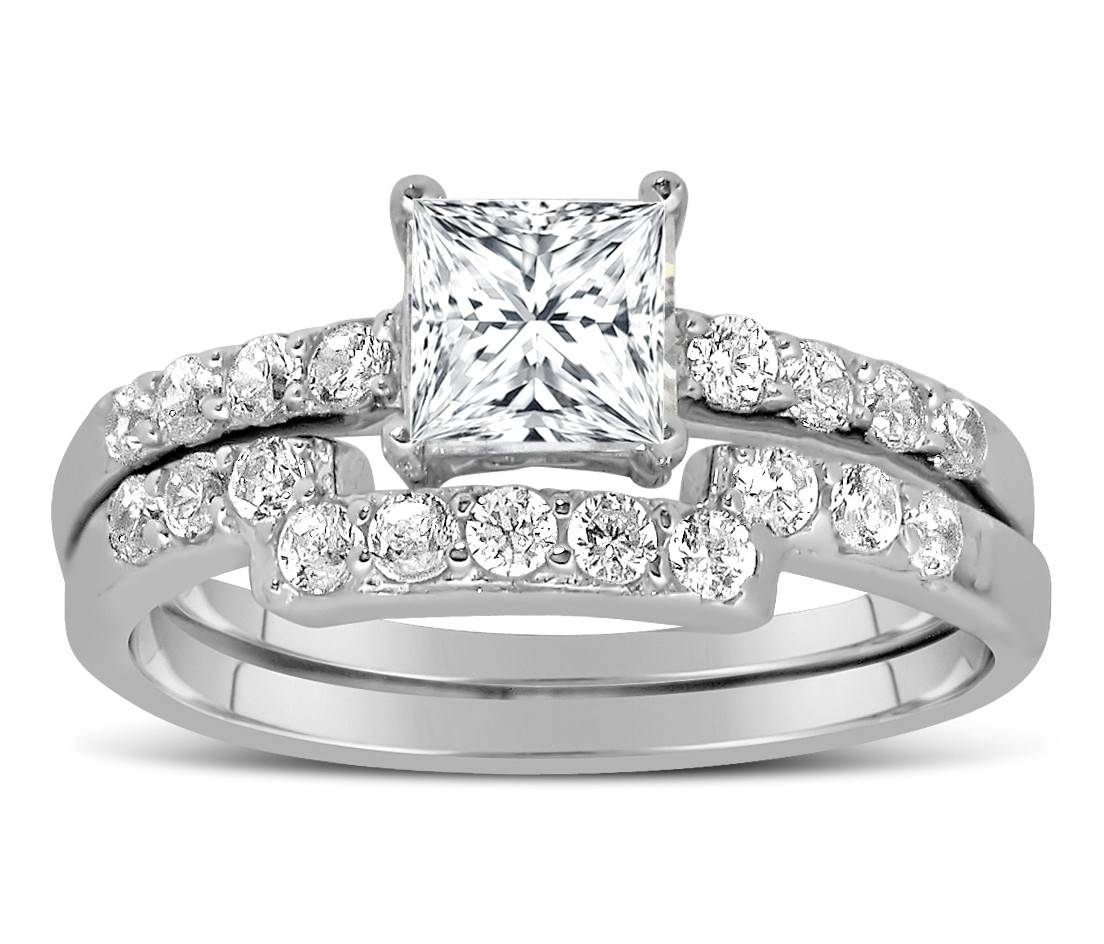 1 Carat Princess Cut Diamond Wedding Ring Set In White Gold In Princess Cut Diamond Wedding Rings (View 1 of 15)