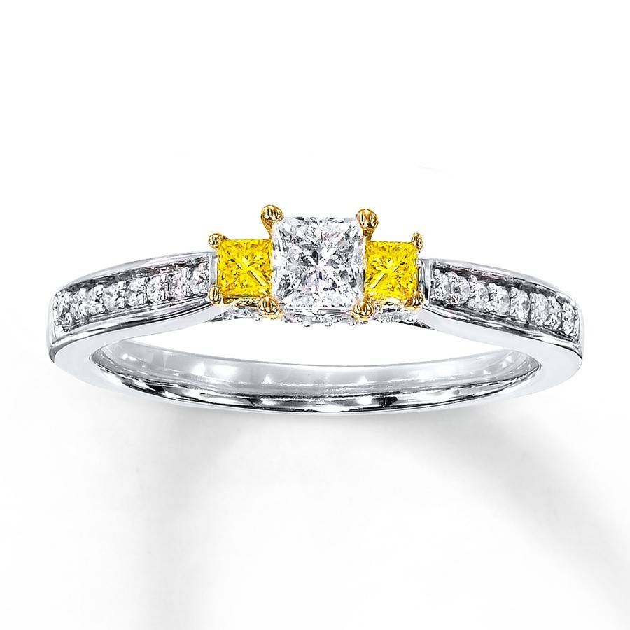 1 Carat Trilogy Princess White And Yellow Diamond Engagement Ring In White Gold Trilogy Engagement Rings (View 1 of 15)