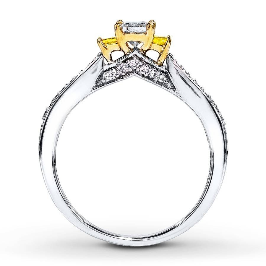 1 Carat Trilogy Princess White And Yellow Diamond Engagement Ring Intended For White Gold Trilogy Engagement Rings (View 2 of 15)