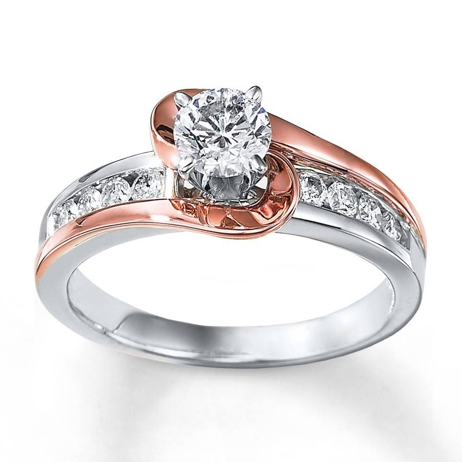 1 Carat Unique Round Two Tone White And Rose Gold Engagement Ring For White Gold Engagement Rings (View 1 of 15)