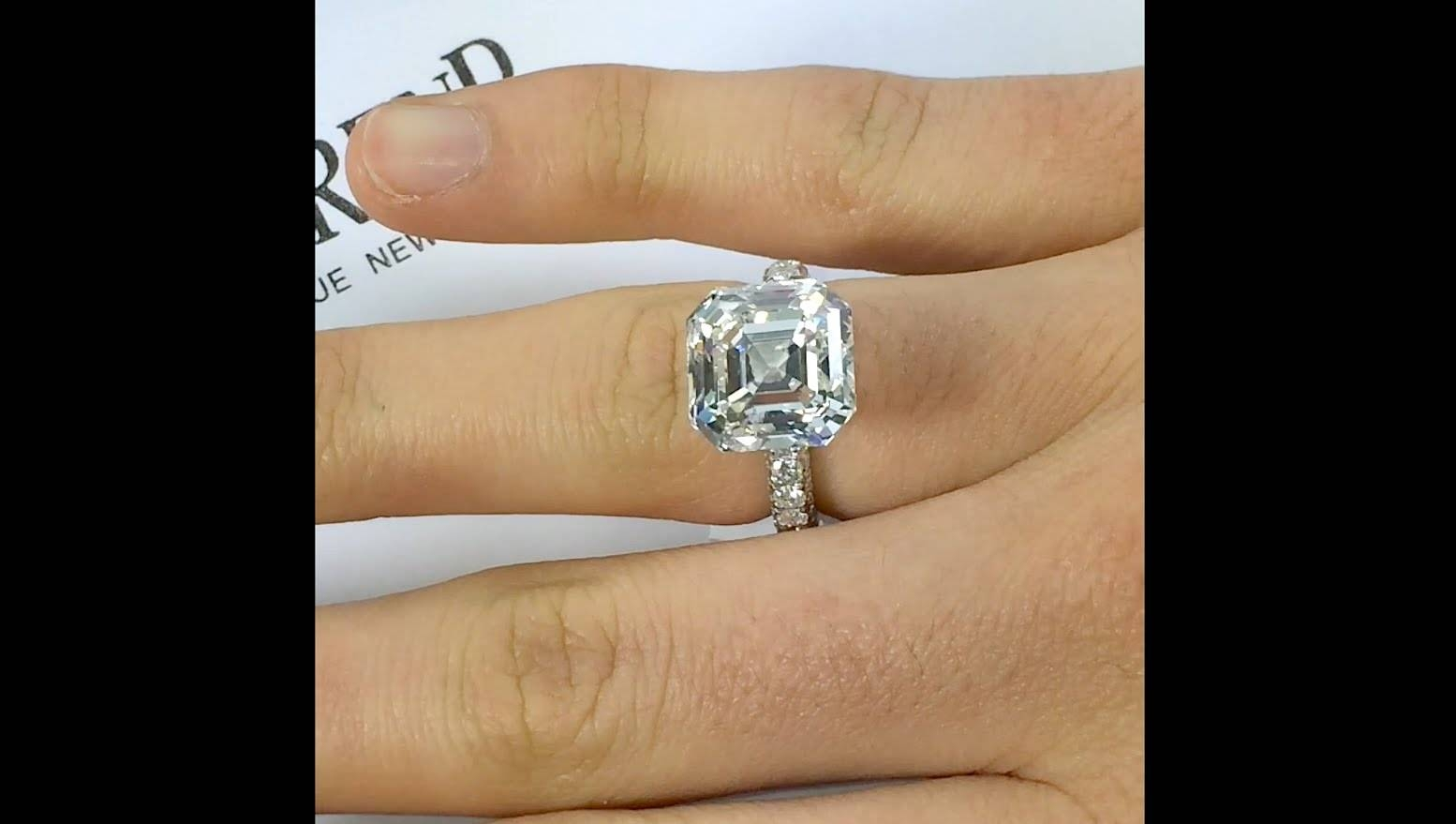 10 Carat Asscher Cut Diamond Engagement Ring – Youtube With Asscher Cut Wedding Rings (View 3 of 15)