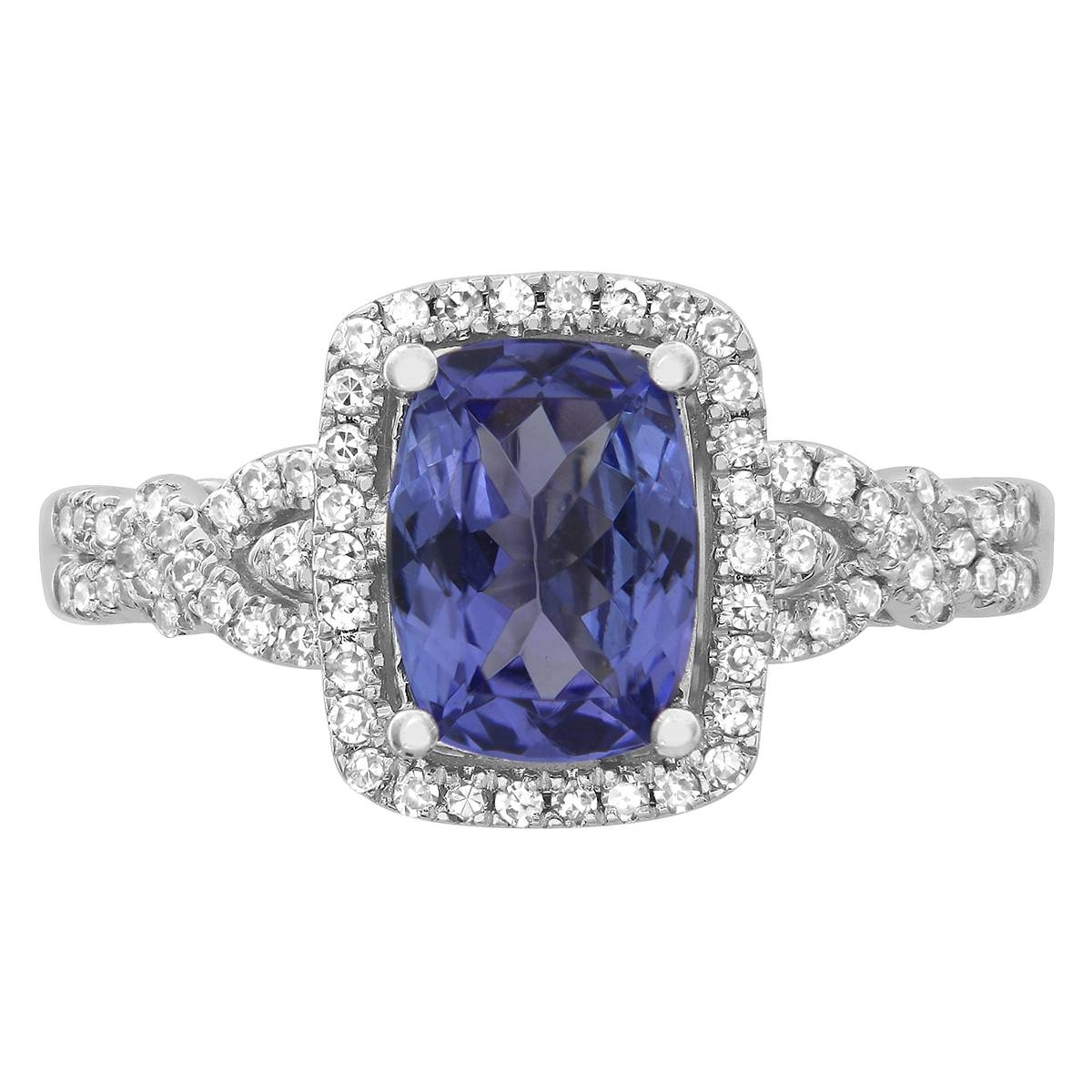 10k White Gold Cushion Cut Tanzanite And Diamond Engagement Ring Inside Tanzanite White Gold Engagement Rings (View 6 of 15)