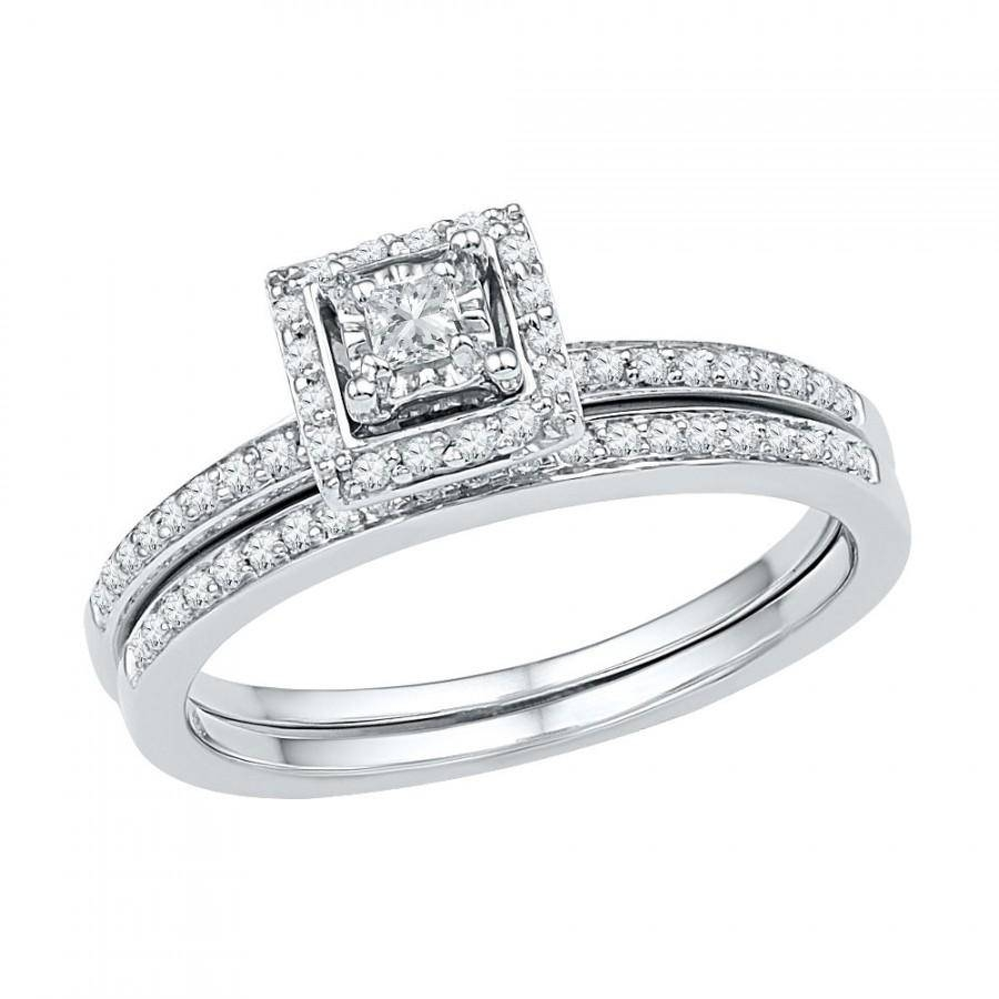 10K White Gold Halo Engagement Ring With Matching Wedding Band Set Within Engagement Rings With Wedding Bands Sets (View 1 of 15)