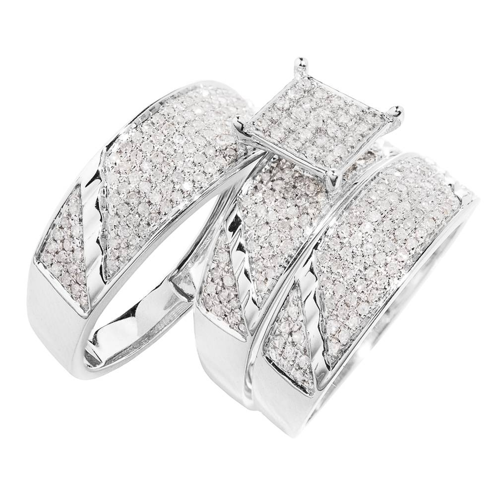 10K White Gold, Square Head Diamond Trio Wedding Ring Set( (View 7 of 15)