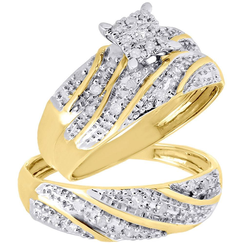 10k Yellow Gold Diamond Trio Set Matching Engagement Ring Wedding Intended For Engagement Rings And Wedding Rings Sets (View 11 of 15)