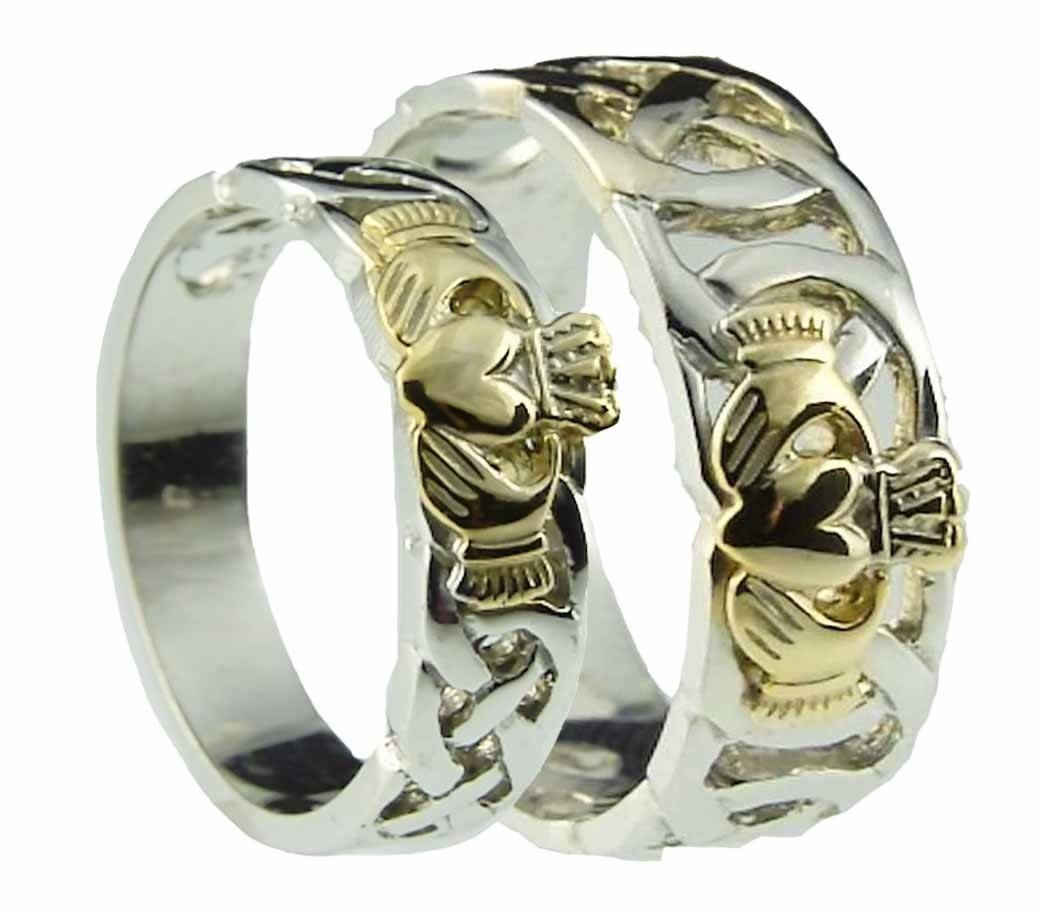 10k/14k/18k Two Tone Gold Celtic Claddagh Wedding Band Ring Set In Irish Engagement Ring Sets (View 4 of 15)
