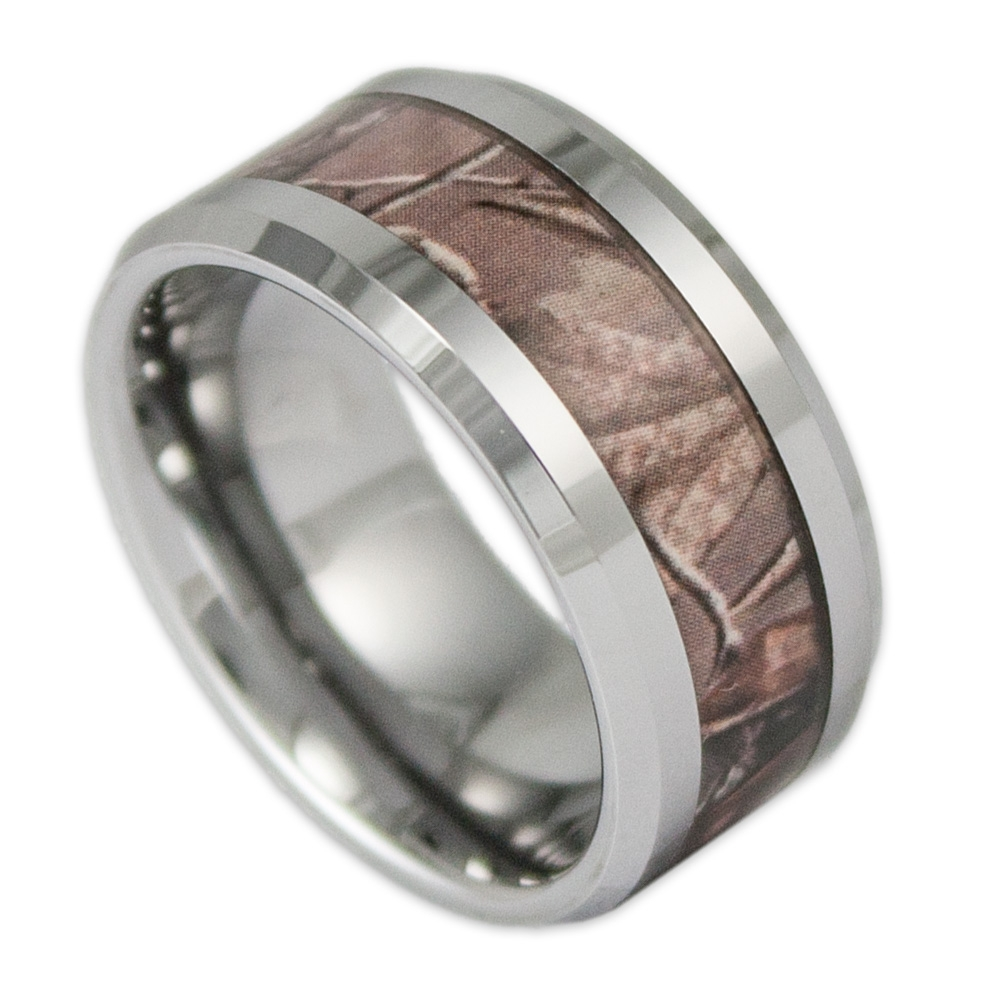 10mm Wide Men's Tree Camo Tungsten Ring Camouflage Wedding Band In Tungsten Titanium Wedding Bands (View 5 of 15)