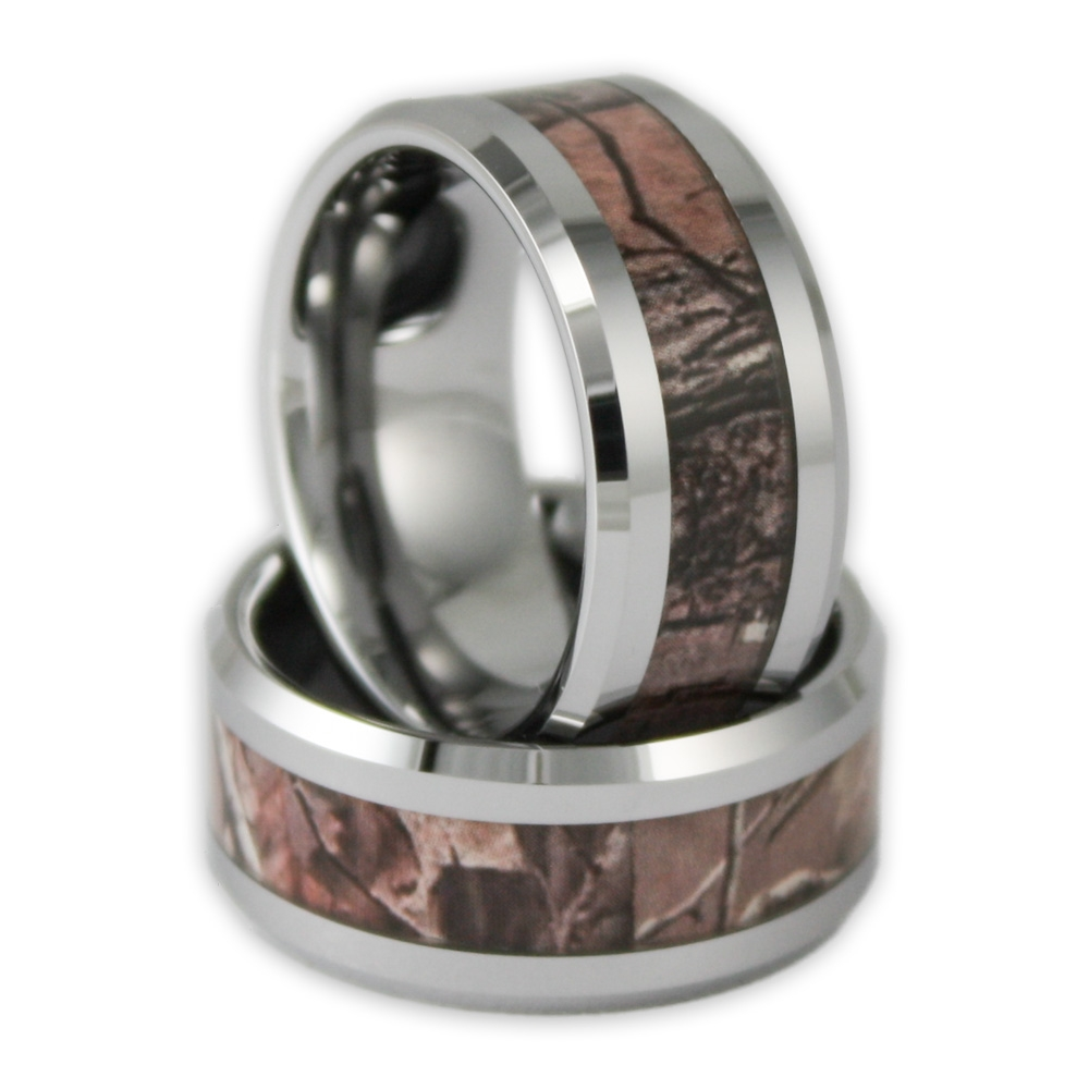 10Mm Wide Men's Tree Camo Tungsten Ring Camouflage Wedding Band Intended For His And Hers Camo Wedding Bands (View 1 of 15)