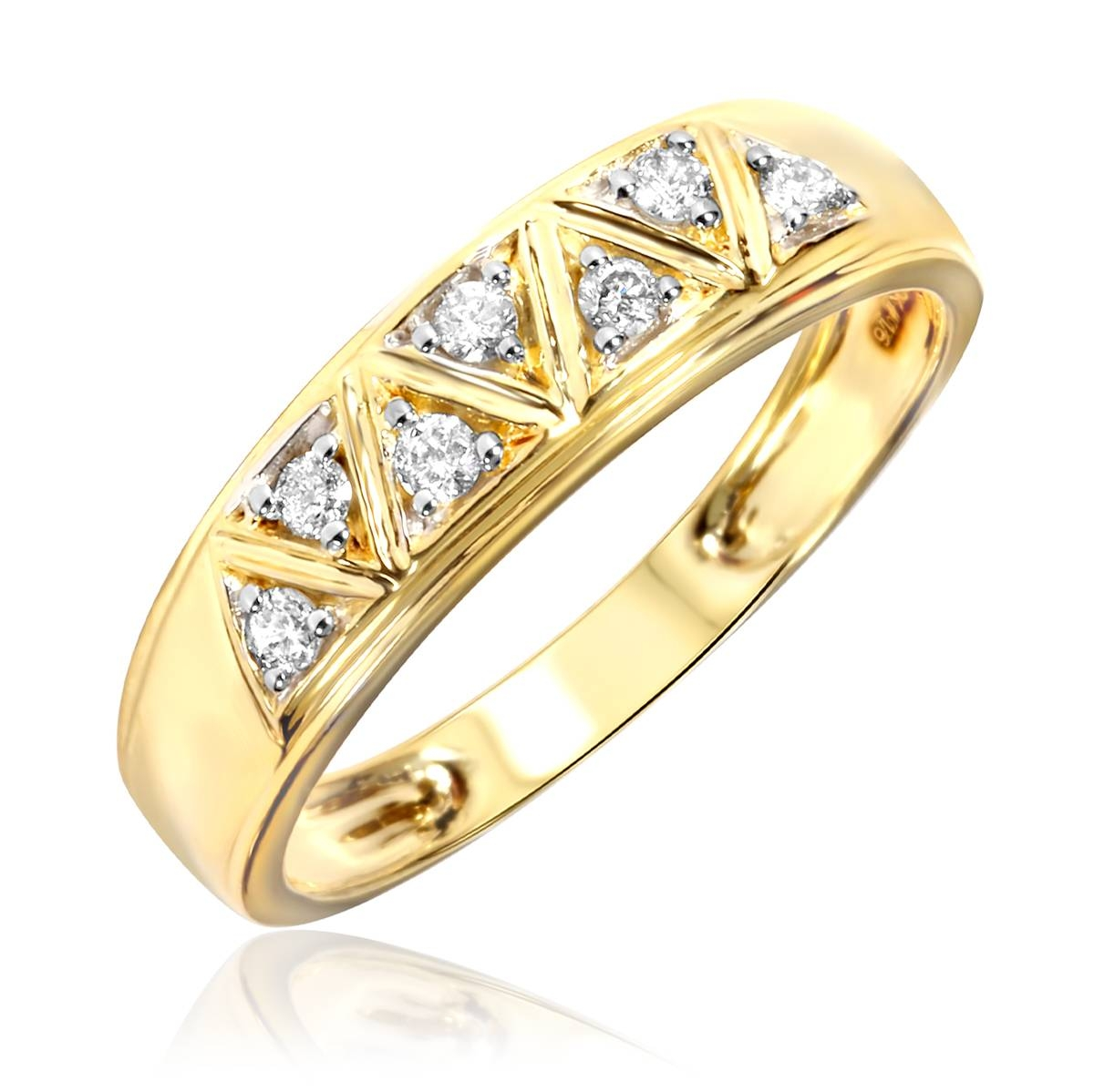 1/2 Carat Diamond Trio Wedding Ring Set 14K Yellow Gold In Women's Yellow Gold Wedding Bands (View 2 of 15)