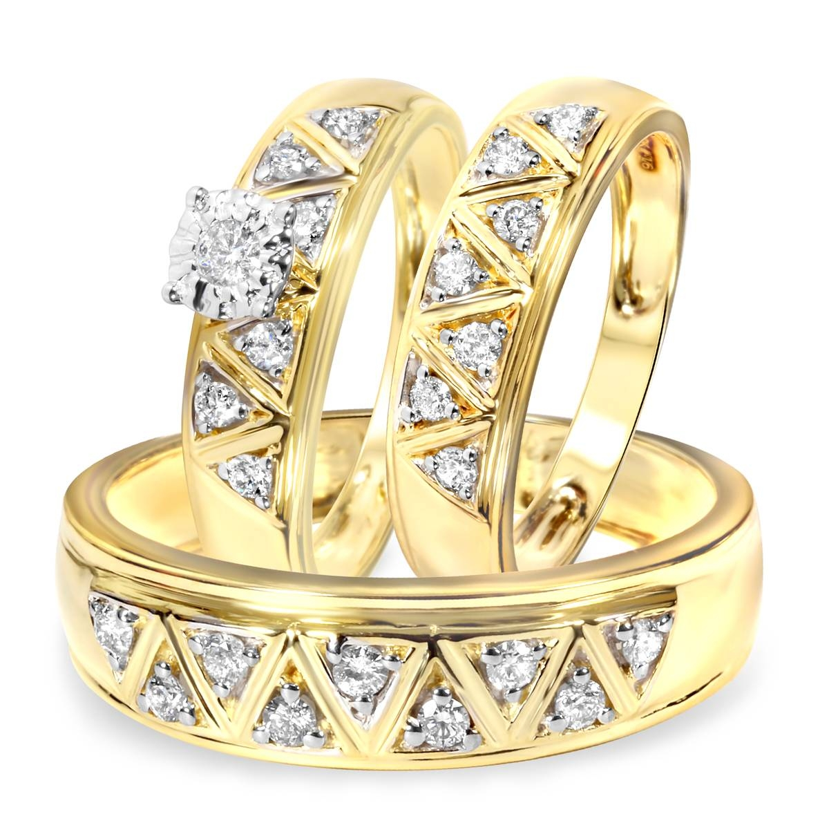 1/2 Carat Diamond Trio Wedding Ring Set 14K Yellow Gold Within Trio Engagement Ring Sets (View 3 of 15)
