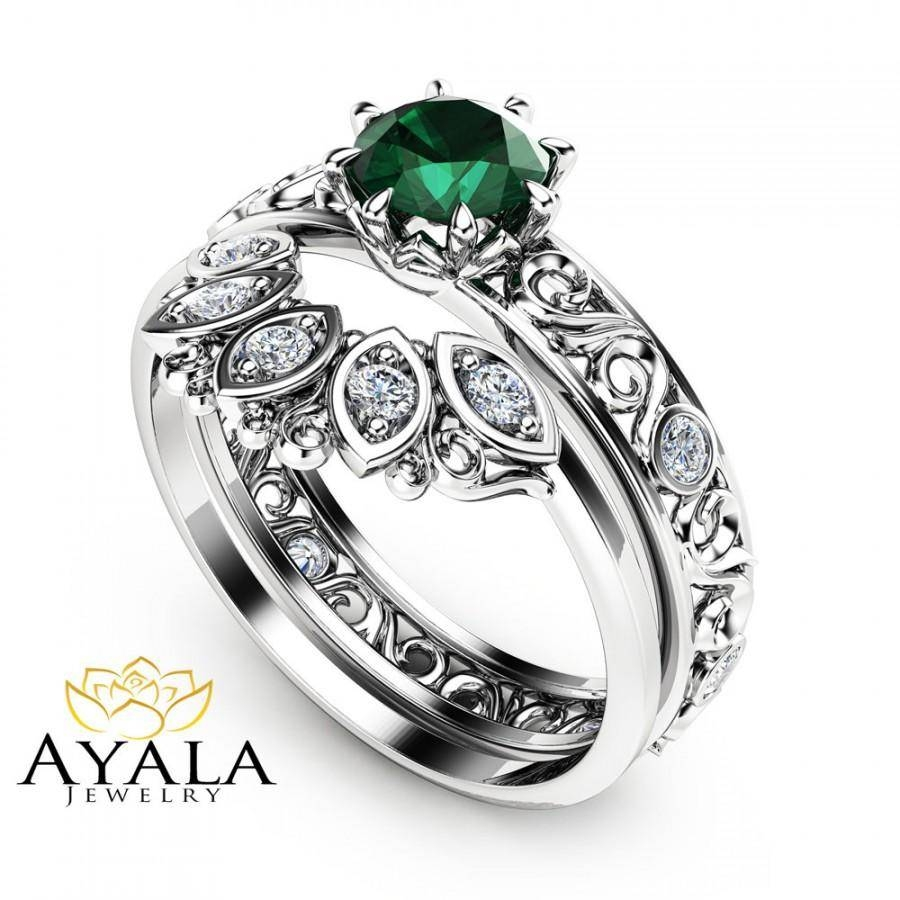 1/2 Ct Natural Emerald Engagement Ring Set 14K White Gold Rings Regarding White Gold Emerald Engagement Rings (Gallery 7 of 15)