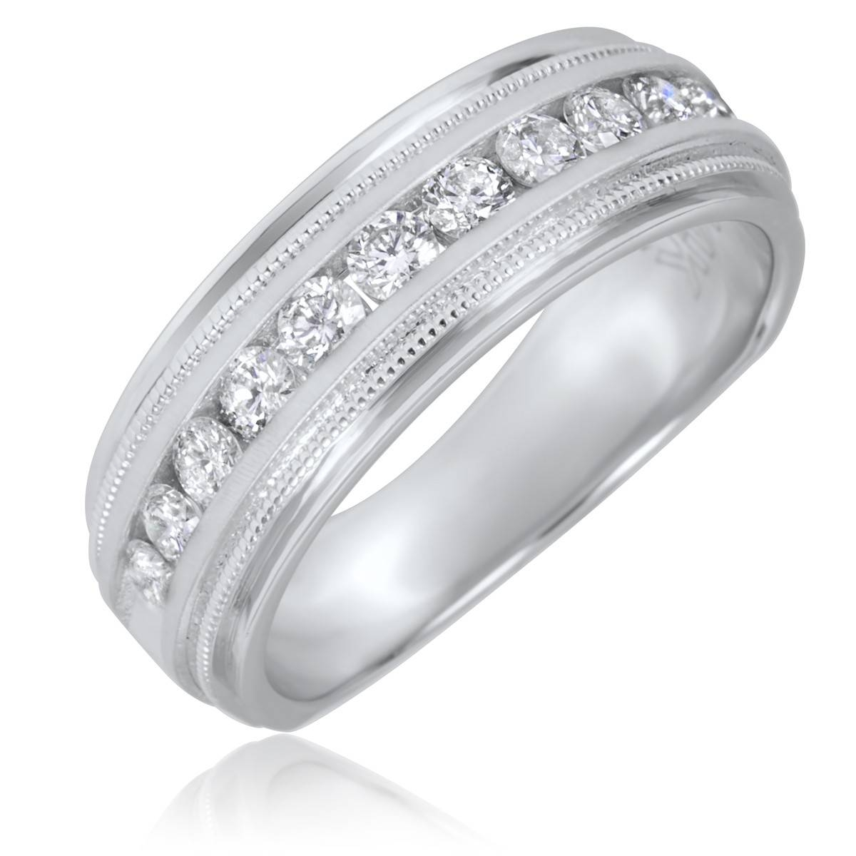 1/2 Ct. T.w. Round Cut Diamond Men's Wedding Band 14K White Gold Inside Male Wedding Bands With Diamonds (Gallery 5 of 15)