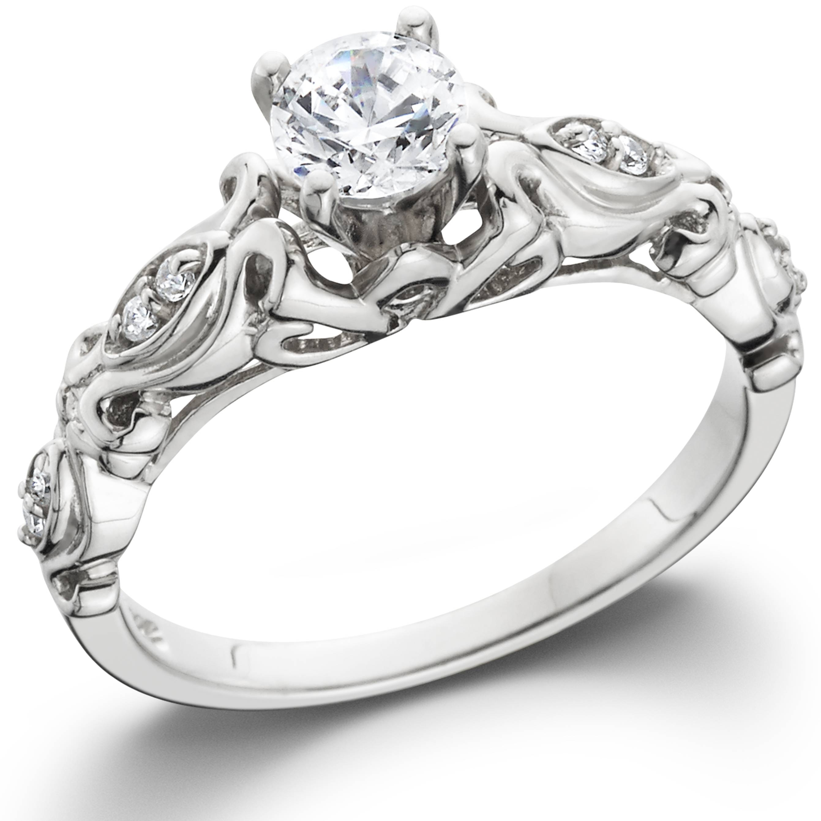 1/2Ct Vintage Diamond Solitaire Engagement Ring 14K White Gold Within Diamond Solitaire Wedding Rings (View 1 of 15)