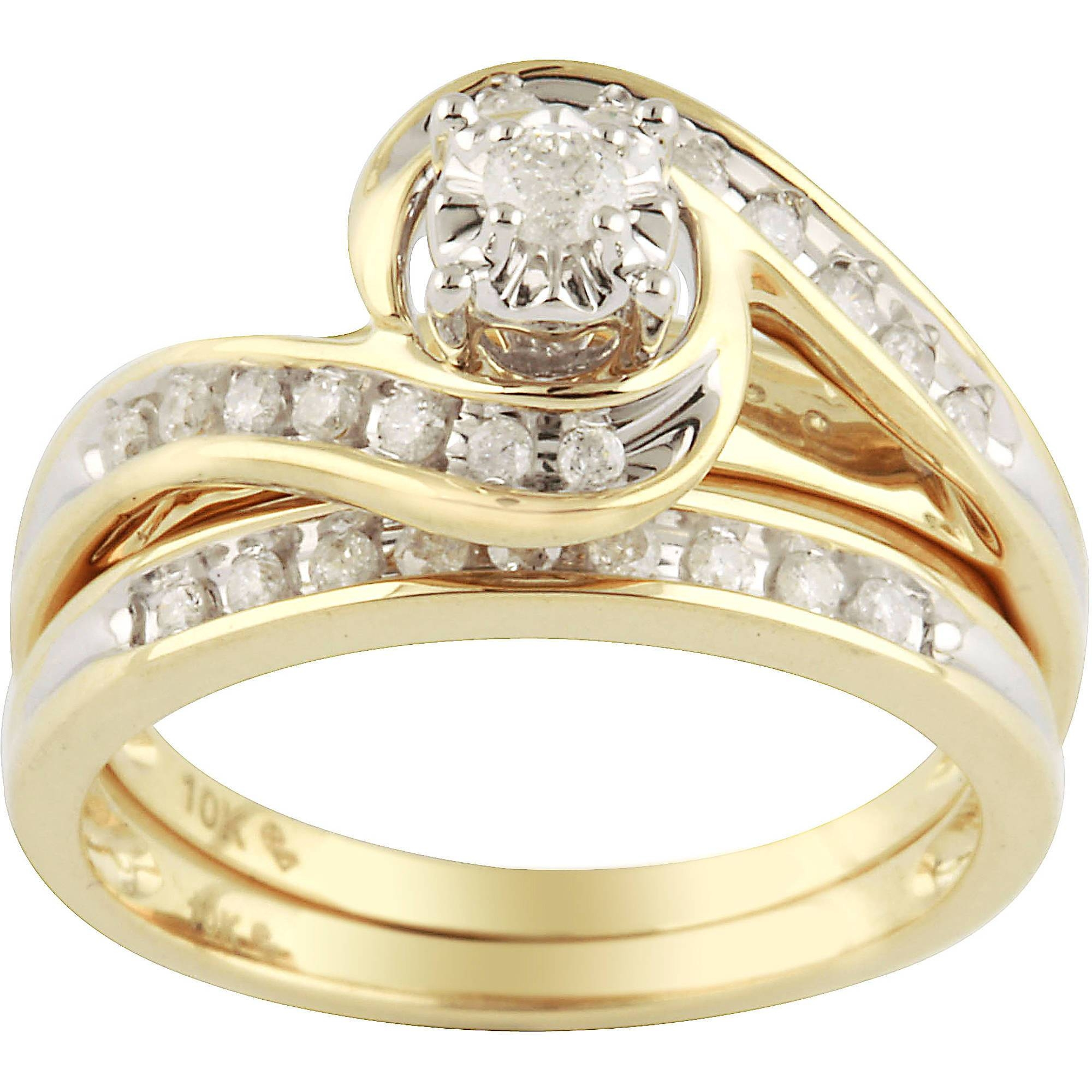 1/3 Carat Diamond Yellow Gold Bypass Bridal Ring Set – Walmart For Gold Engagement And Wedding Rings Sets (View 3 of 15)