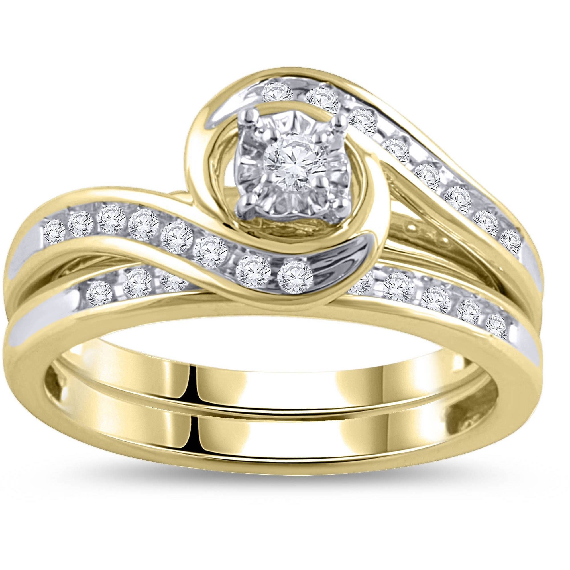 1/3 Carat Diamond Yellow Gold Bypass Bridal Ring Set – Walmart Within Wedding And Engagement Ring Sets (View 11 of 15)