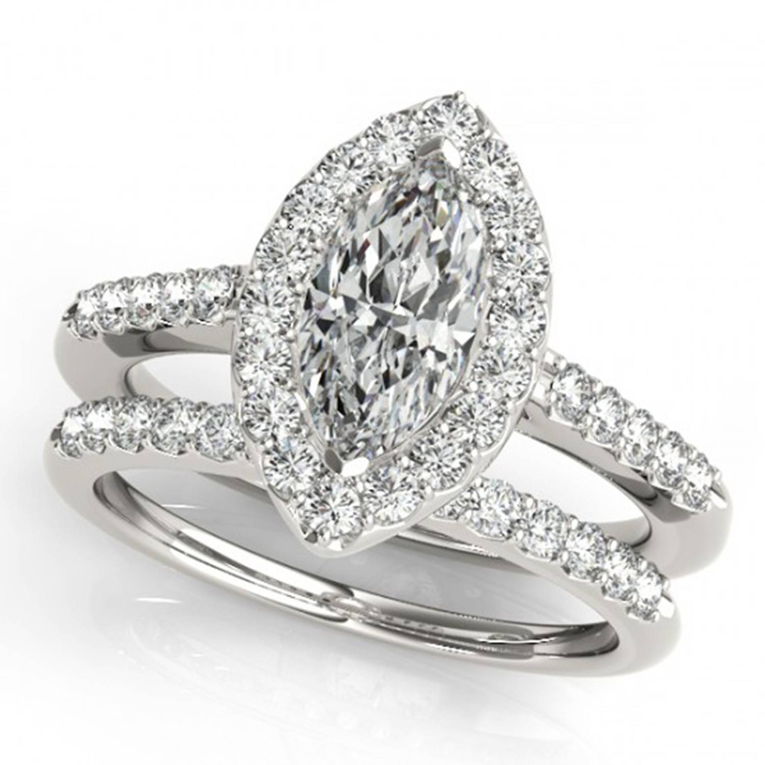 1/3 Carat Flat Sphere Marquise Diamond Sidestones Engagement Ring Within Flat Engagement Rings (View 2 of 15)