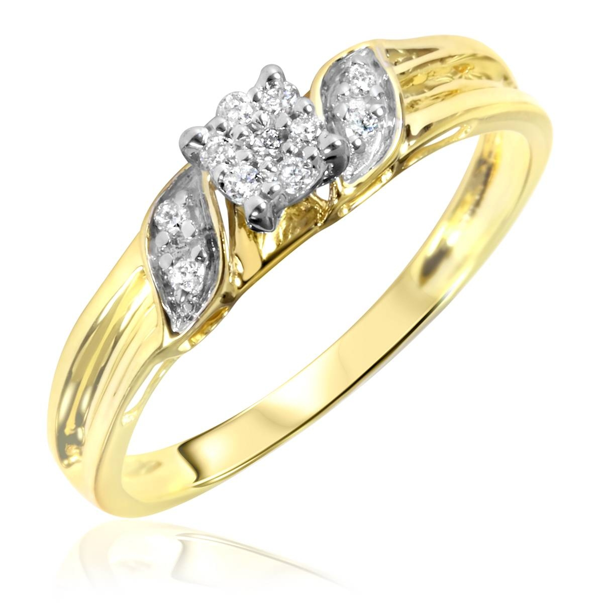 1/4 Carat Diamond Trio Wedding Ring Set 10K Yellow Gold For Engagement Rings And Wedding Ring Sets (View 3 of 15)