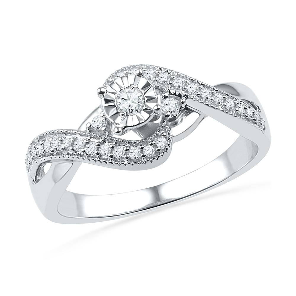 1/4 Ct Tw Diamond Wave Engagement Ring Shrp072704 Ss Inside Wave Engagement Rings (View 2 of 15)